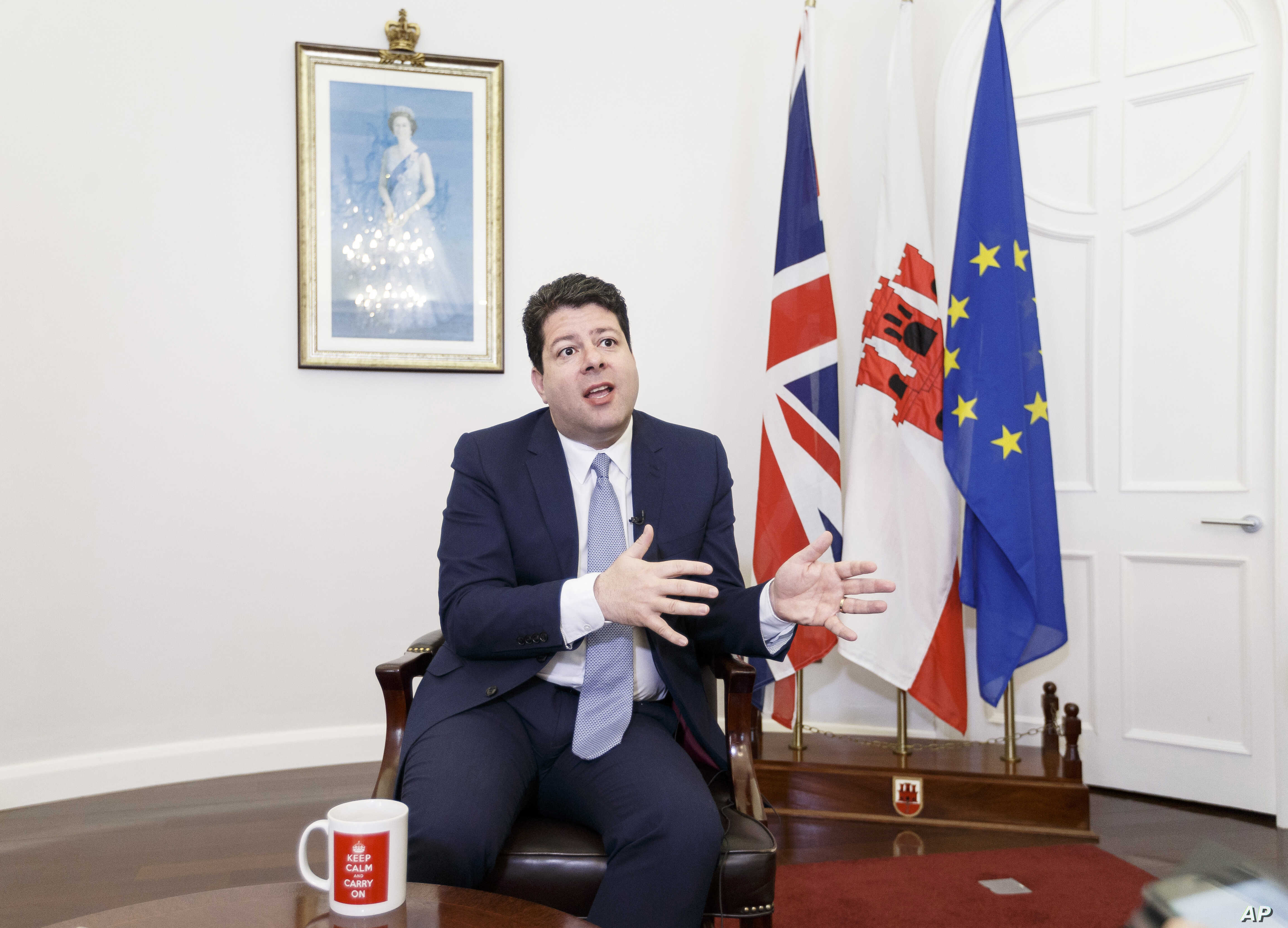 Chief Minister of Gibraltar, Fabian Picardo , speaks during an interview with The Associated Press in No. 6 Convent Place, the seat of Gibraltar's government, in the British territory of Gibraltar, Feb. 28, 2017.