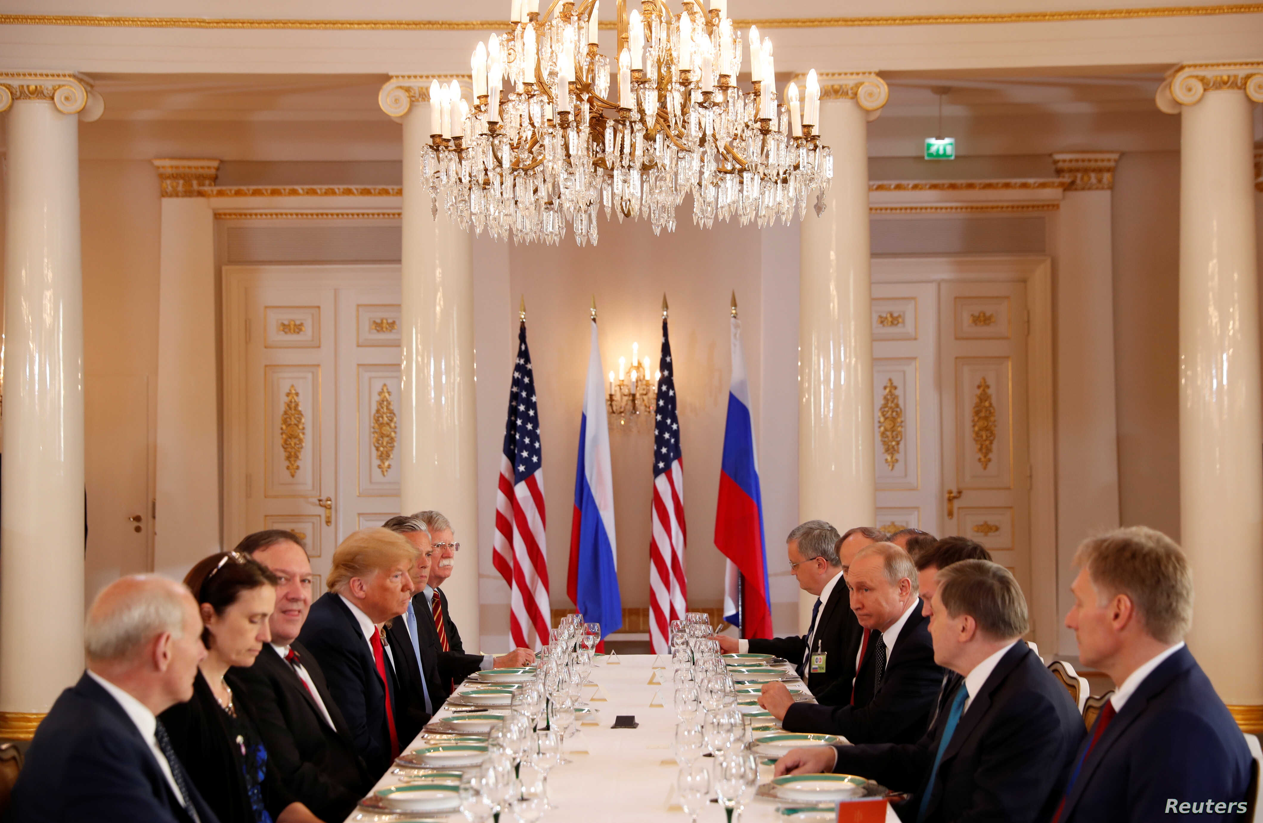 U.S. President Donald Trump participates in an expanded bilateral meeting with Russia's President Vladimir Putin in Helsinki, Finland, July 16, 2018.