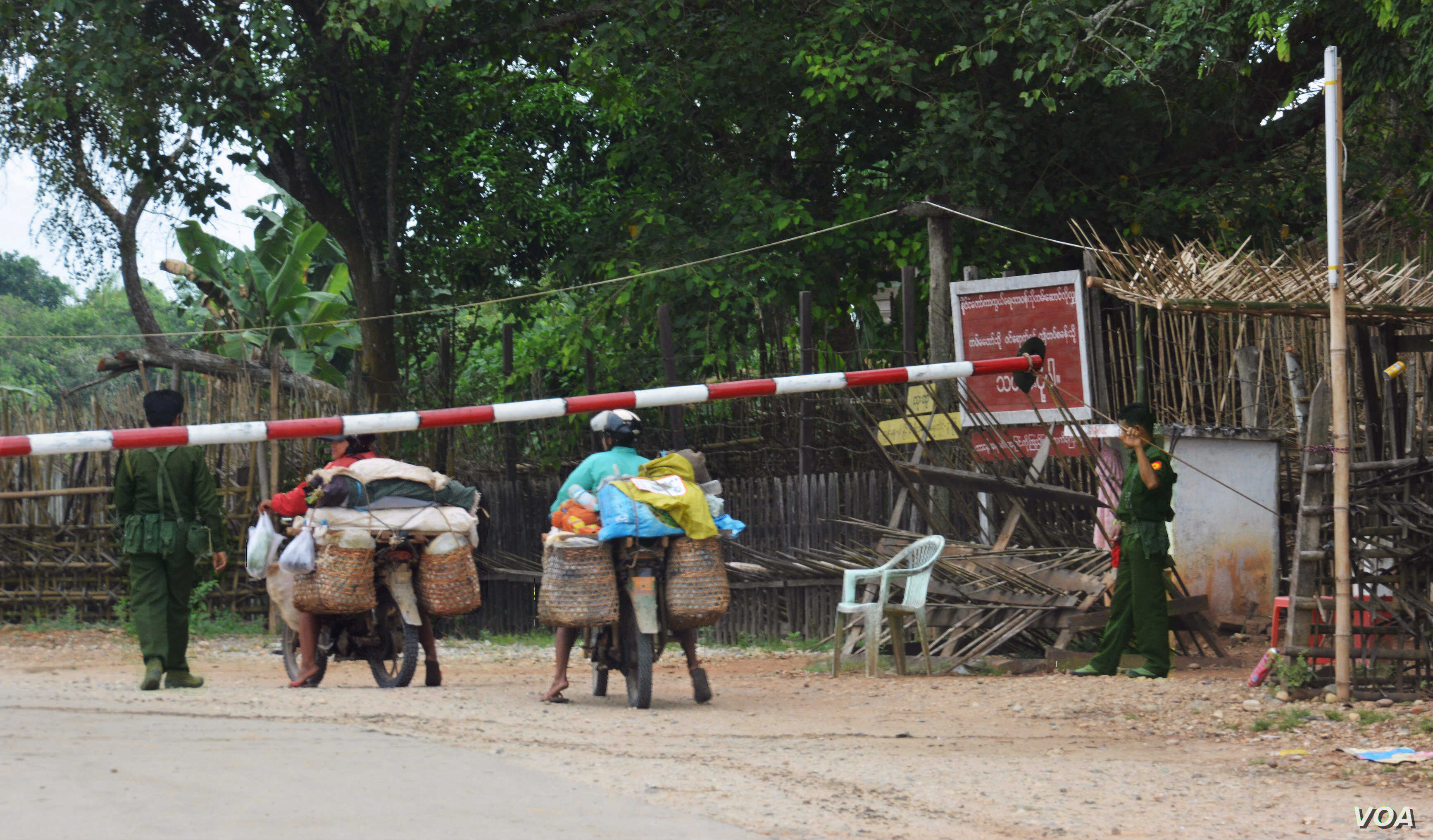 A checkpoint in Hopin Township, Kachin State, where the army grabbed huge areas of farmland. (P. Vrieze for VOA)