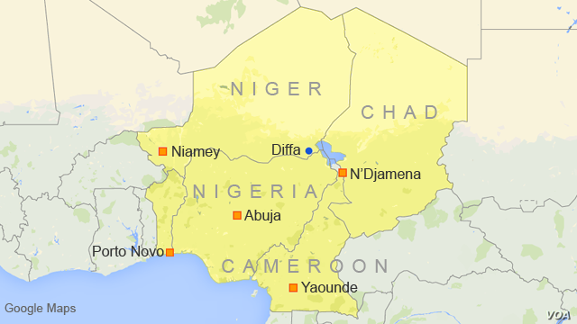 Map showing Niger, Nigeria, Chad, Cameroon, and Benin