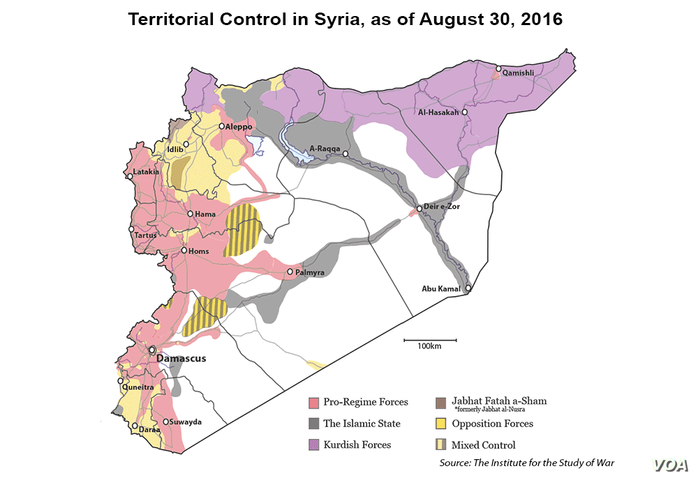 Map: Territorial control in Syria, as of August 20, 2016