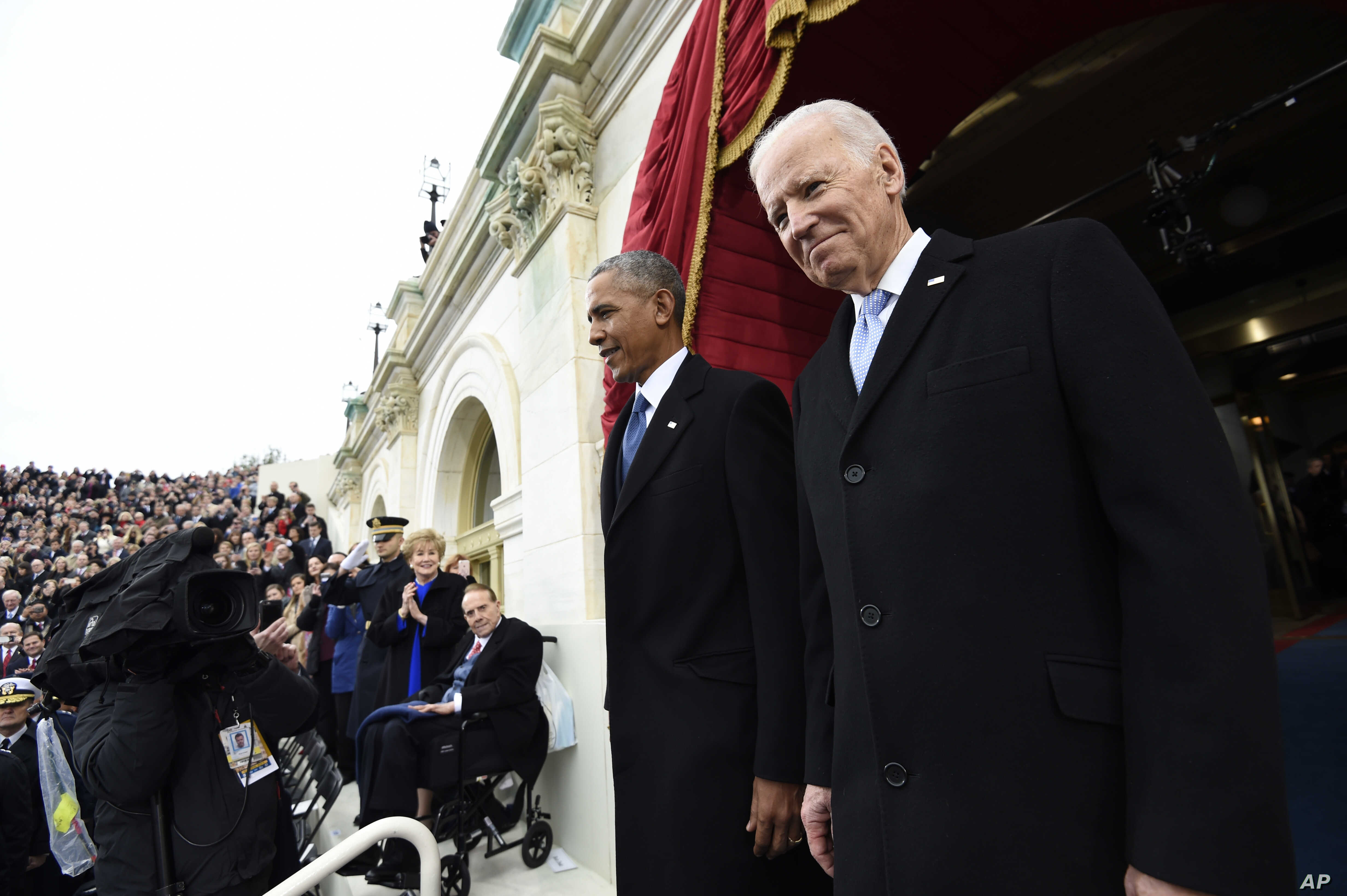 President Barack Obama and Vice President Joe Biden arrive for the Presidential Inauguration of Donald Trump, Jan, 20, 2017.