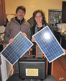 Stachel's husband, Hal Aronson, suggested a sun-powered solution to the power outages that hamper medical care in developing nations.