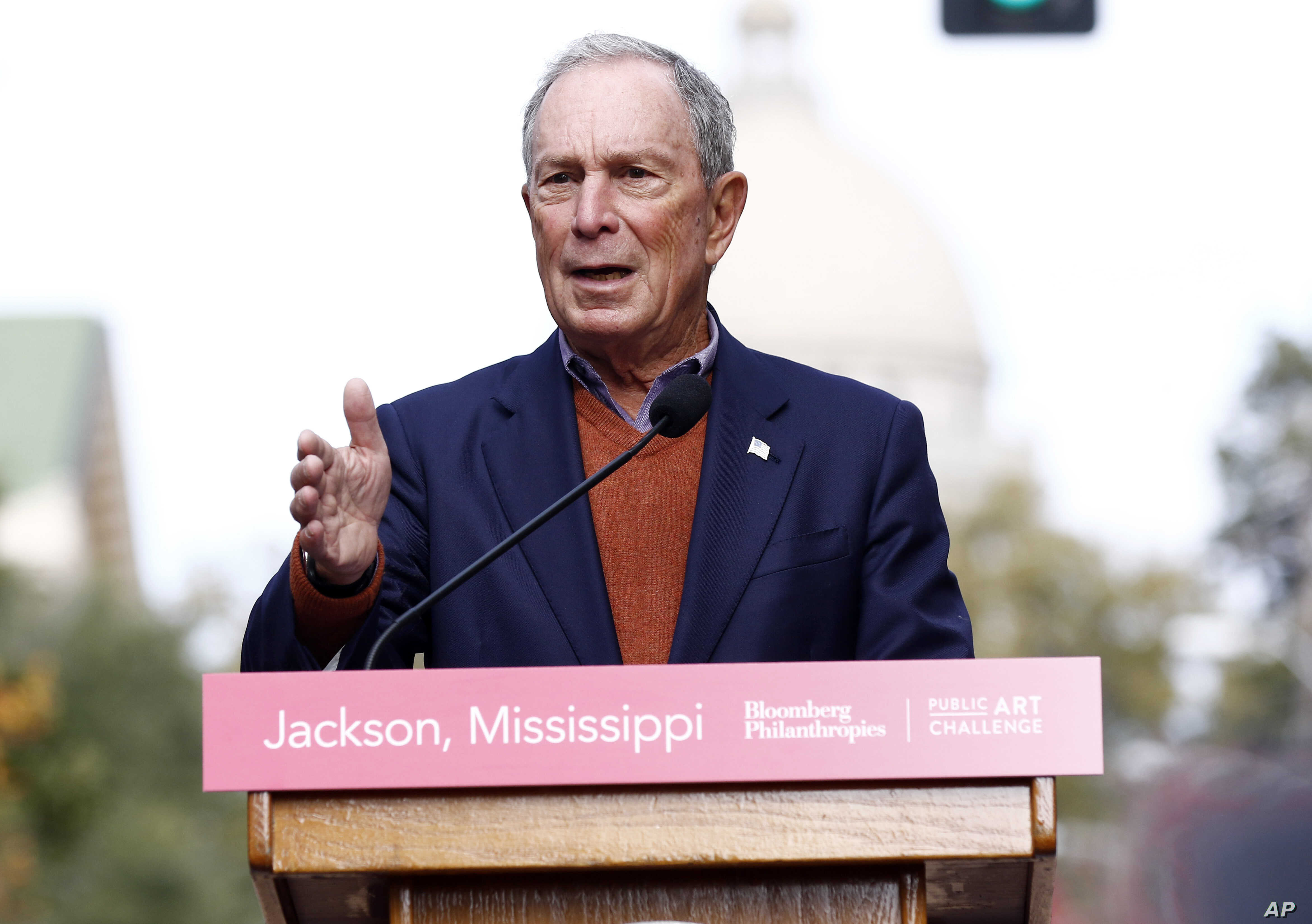 FILE - Former mayor of New York City Michael Bloomberg speaks to the media in Jackson, Miss., Nov. 29, 2018. Bloomberg's philanthropy has announced a $50 million donation to help fight the nation's opioid epidemic.