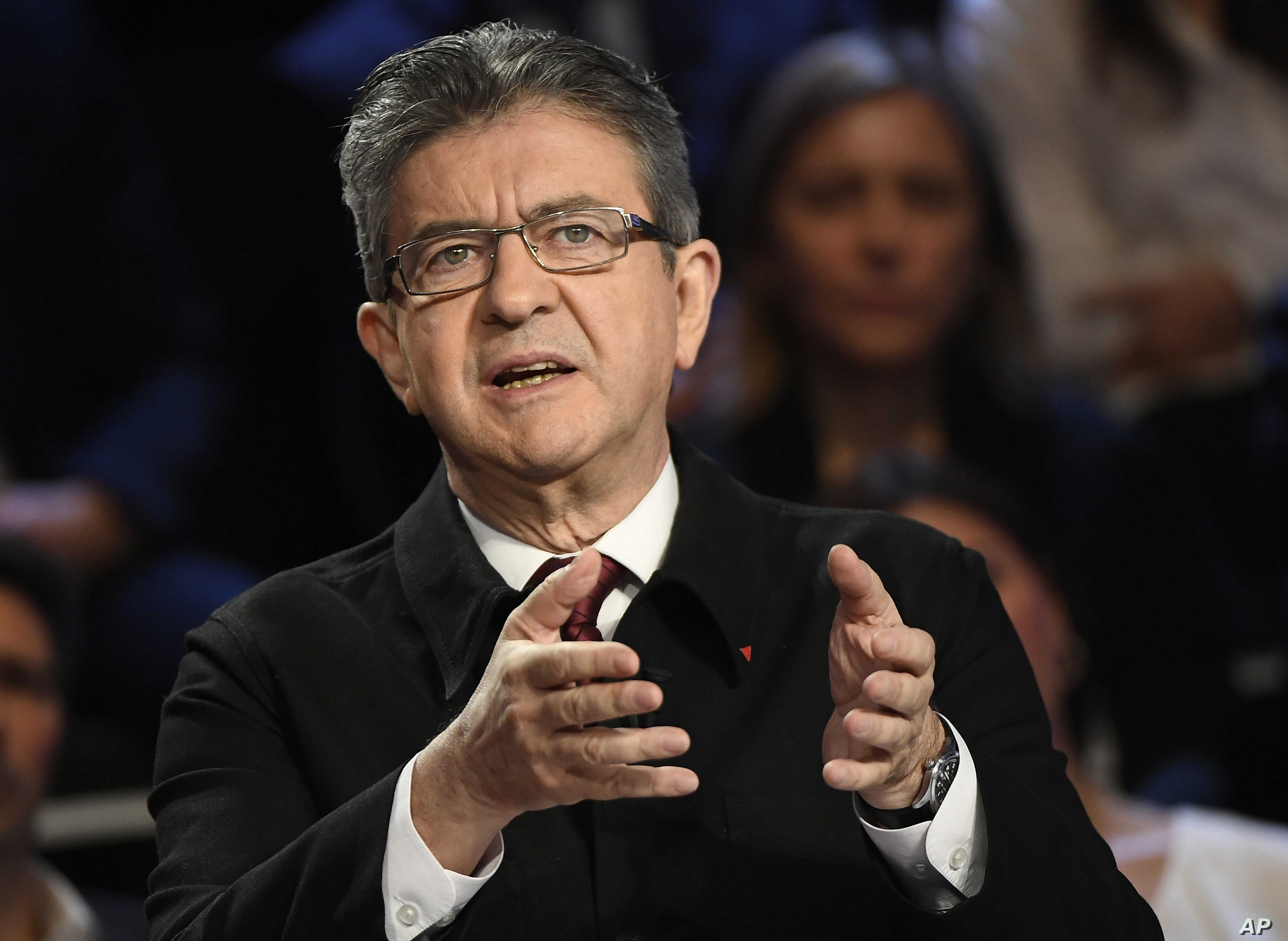 Far-left presidential candidate for the presidential election Jean-Luc Melenchon attends a television debate at French private TV channels BFM TV and CNews, in La Plaine-Saint-Denis, outside Paris, April 4, 2017.