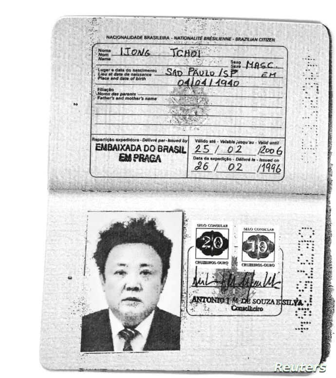 A scan obtained by Reuters shows an authentic Brazilian passport issued to North Korea's late leader Kim Jong-il. (Handout via Reuters)
