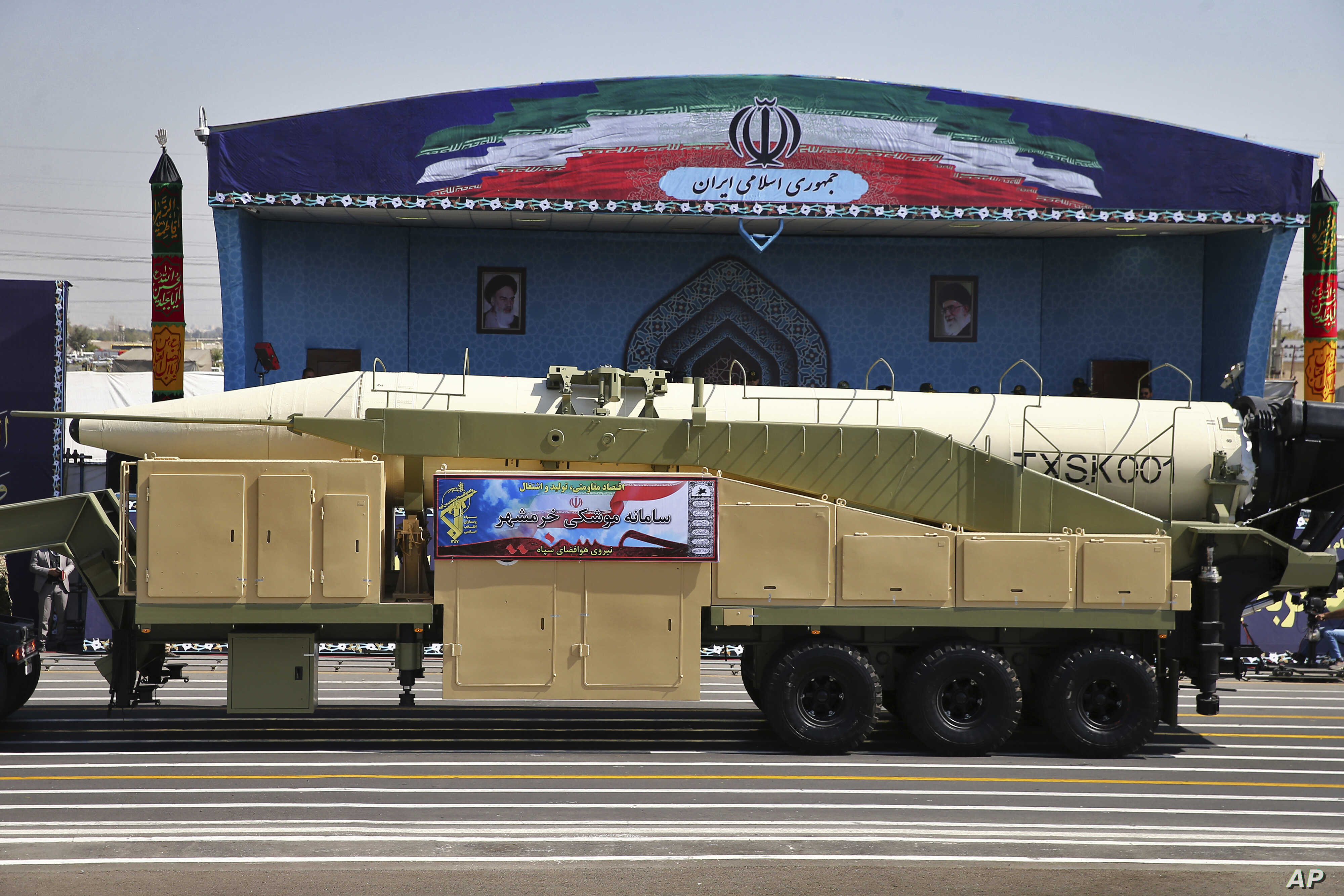 Iran's Khoramshahr missile is displayed by the Revolutionary Guard during a military parade marking the 37th anniversary of Iraq's 1980 invasion of Iran, outside Tehran, Sept. 22, 2017.
