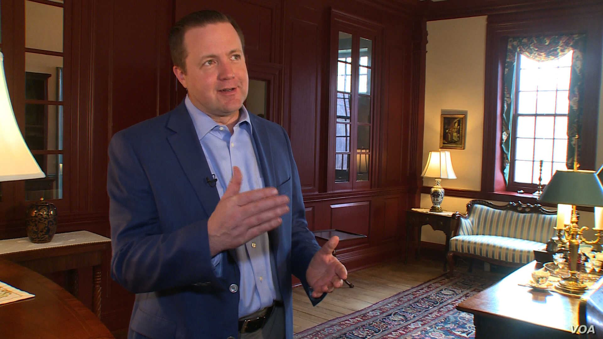 Prince William County board chair Corey Stewart lives in a historic home where George Washington once slept. (S. Baragona/VOA)