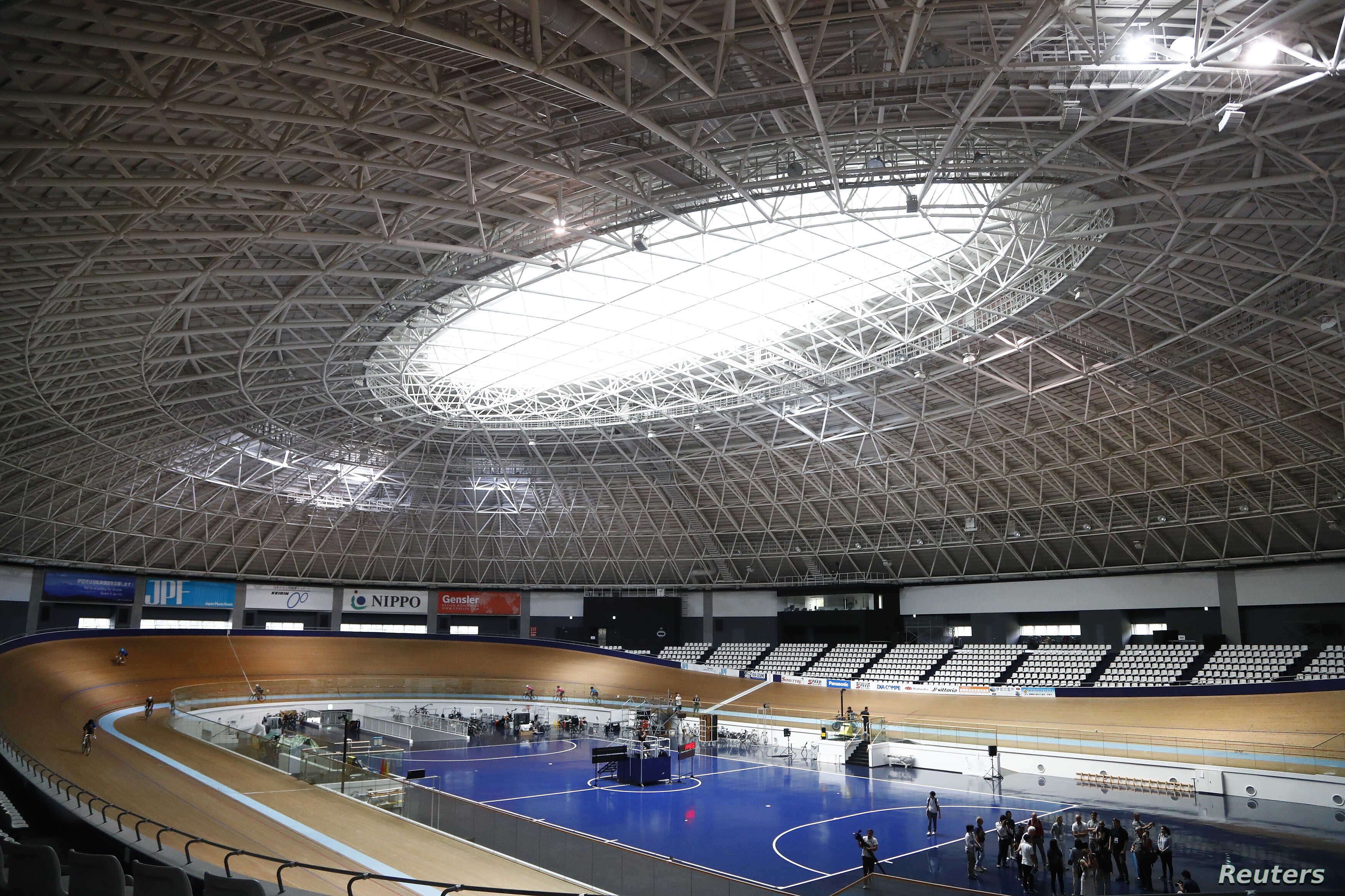 A general view shows the Izu Velodrome for the Tokyo 2020 Olympic games in Izu, Shizuoka prefecture, central Japan, Sept. 6, 2018.