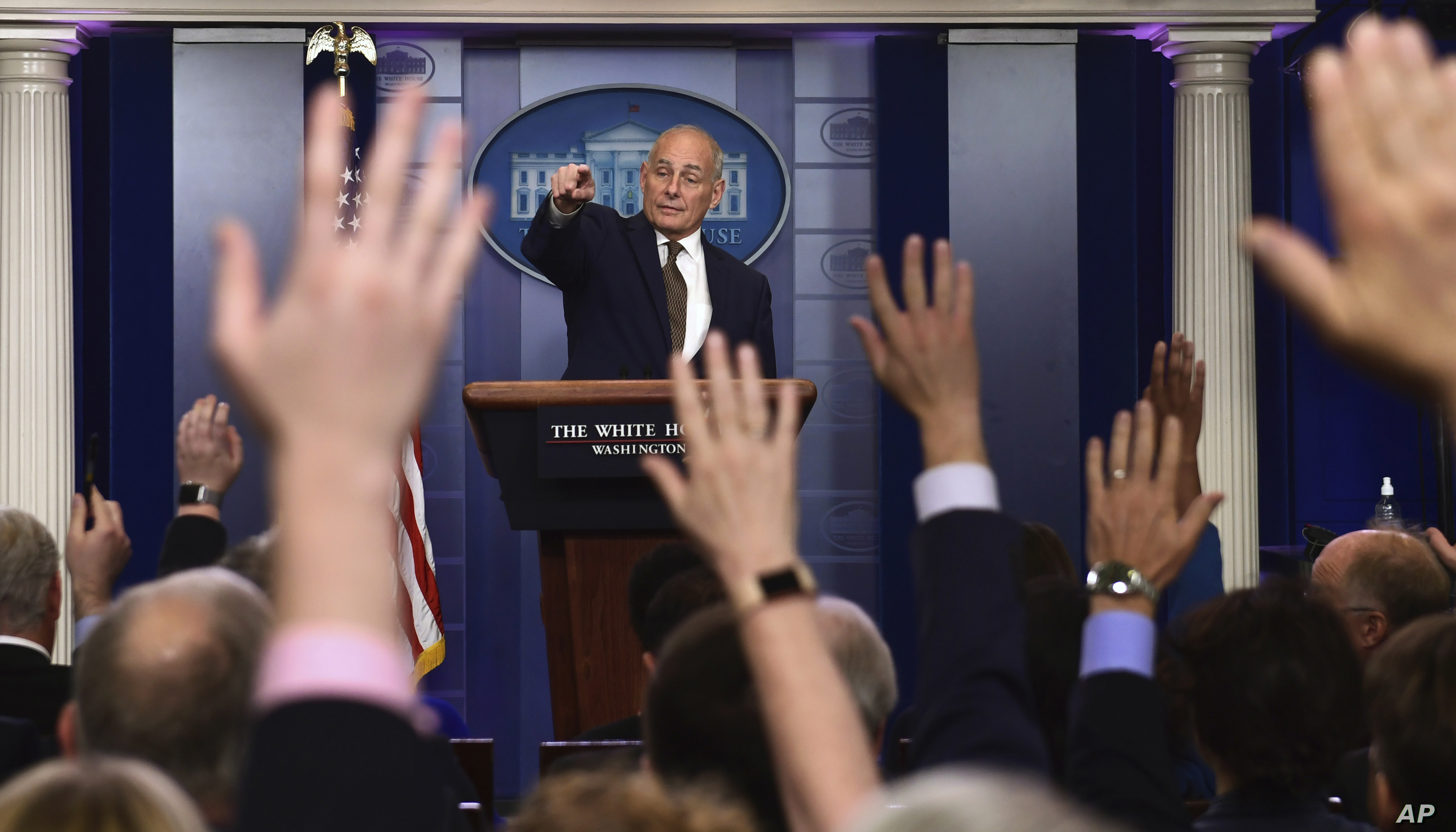 White House Chief of Staff John Kelly calls on a reporter during the daily briefing at the White House in Washington, Oct. 12, 2017.