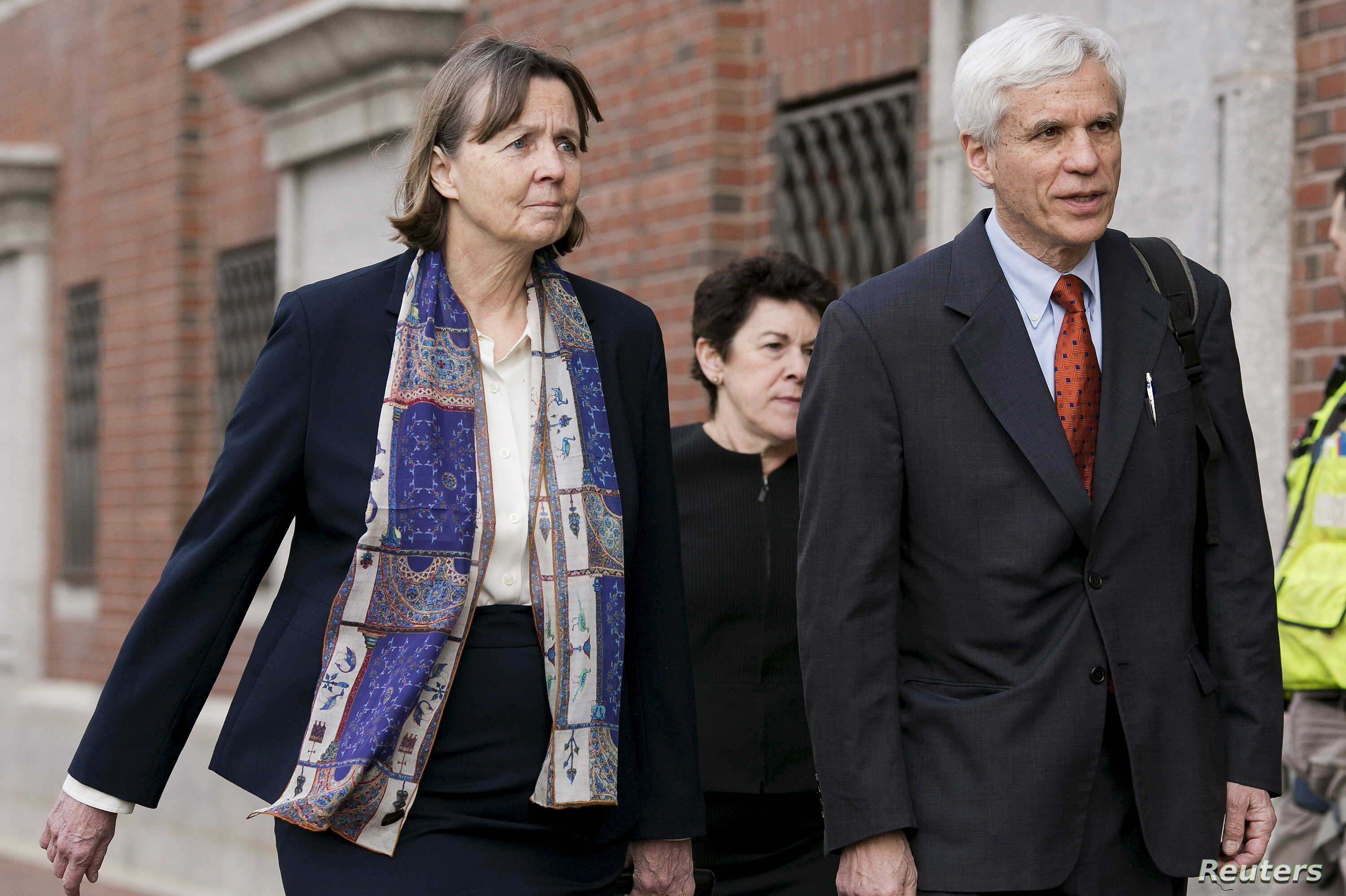 Judy Clarke, left, and David Bruck, defense attorneys for convicted Boston Marathon bomber Dzhokhar Tsarnaev, will try to prevent his getting a death sentence. They're shown at the federal courthouse in Boston, Massachusetts, April 6, 2015.