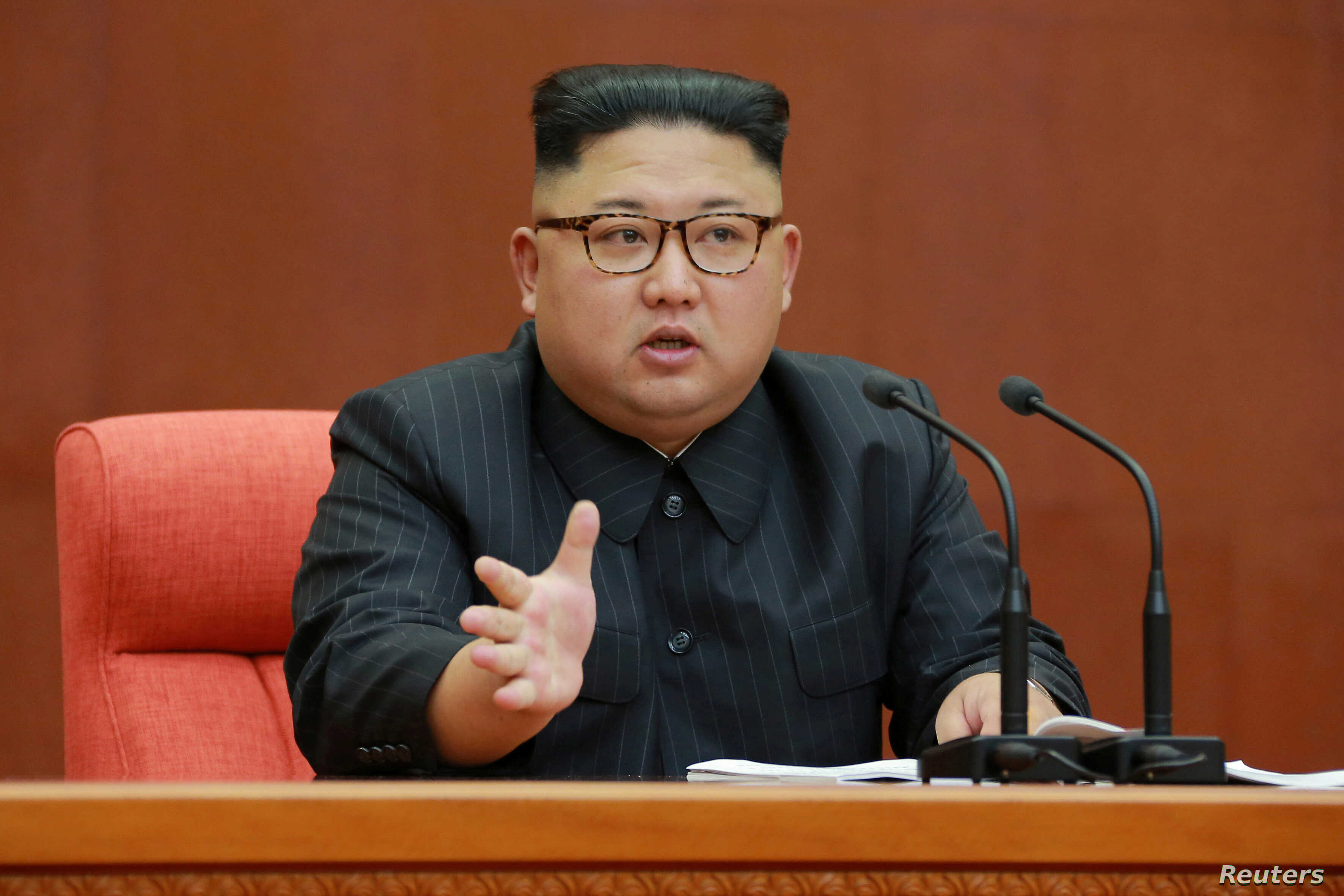 Kim Jong Un speaks during the Second Plenum of the 7th Central Committee of the Workers' Party of Korea (WPK) at the Kumsusan Palace of the Sun, in this undated photo released by North Korea's Korean Central News Agency (KCNA) in Pyongyang, Oct. 8, 2...