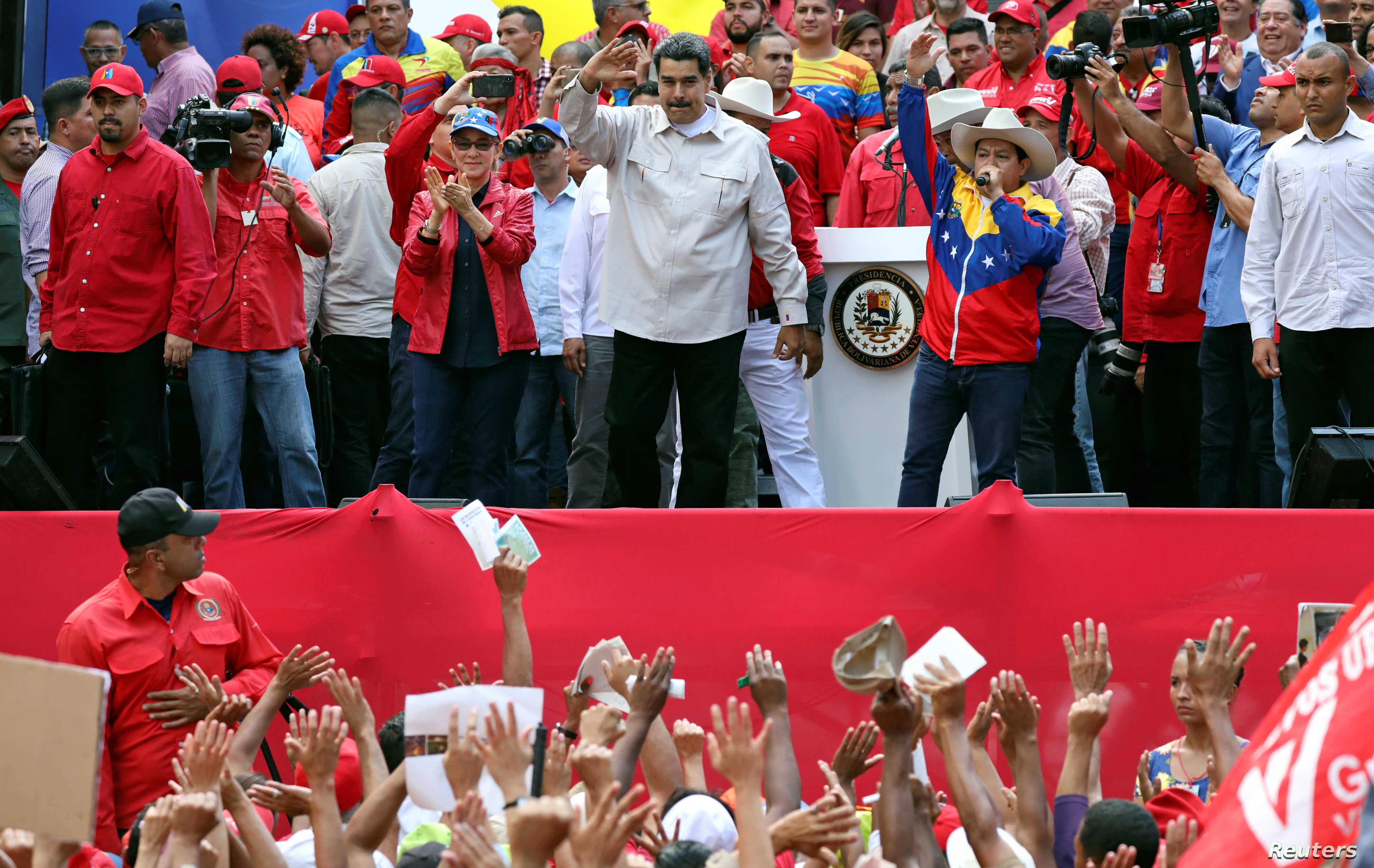 Venezuela's President Nicolas Maduro attends a rally in support of his government in Caracas, April 6, 2019.