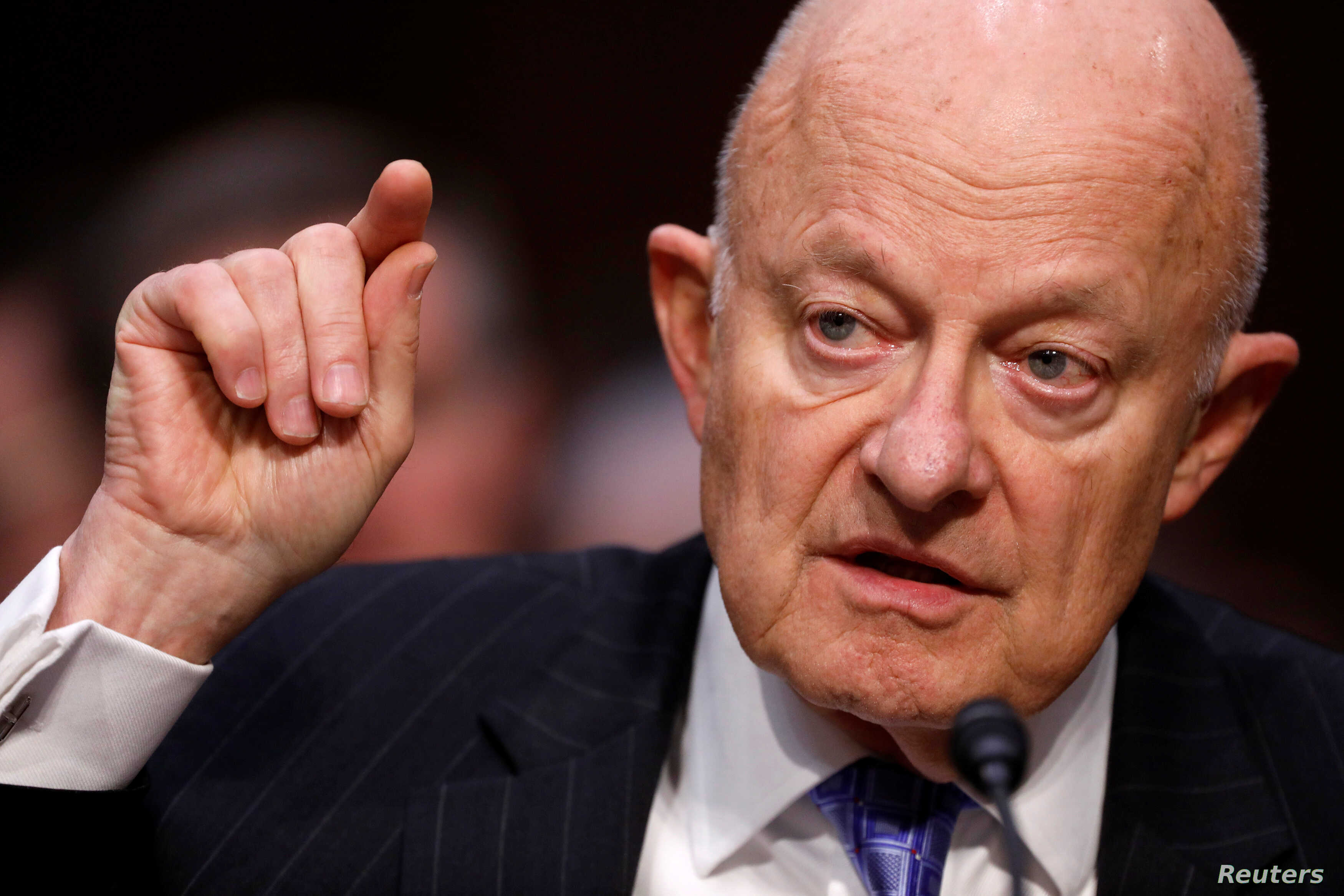 Former Director of National Intelligence James Clapper testifies about potential Russian interference in the presidential election before the Senate Judiciary Committee on Capitol Hill, Washington, D.C., U.S., May 8, 2017.