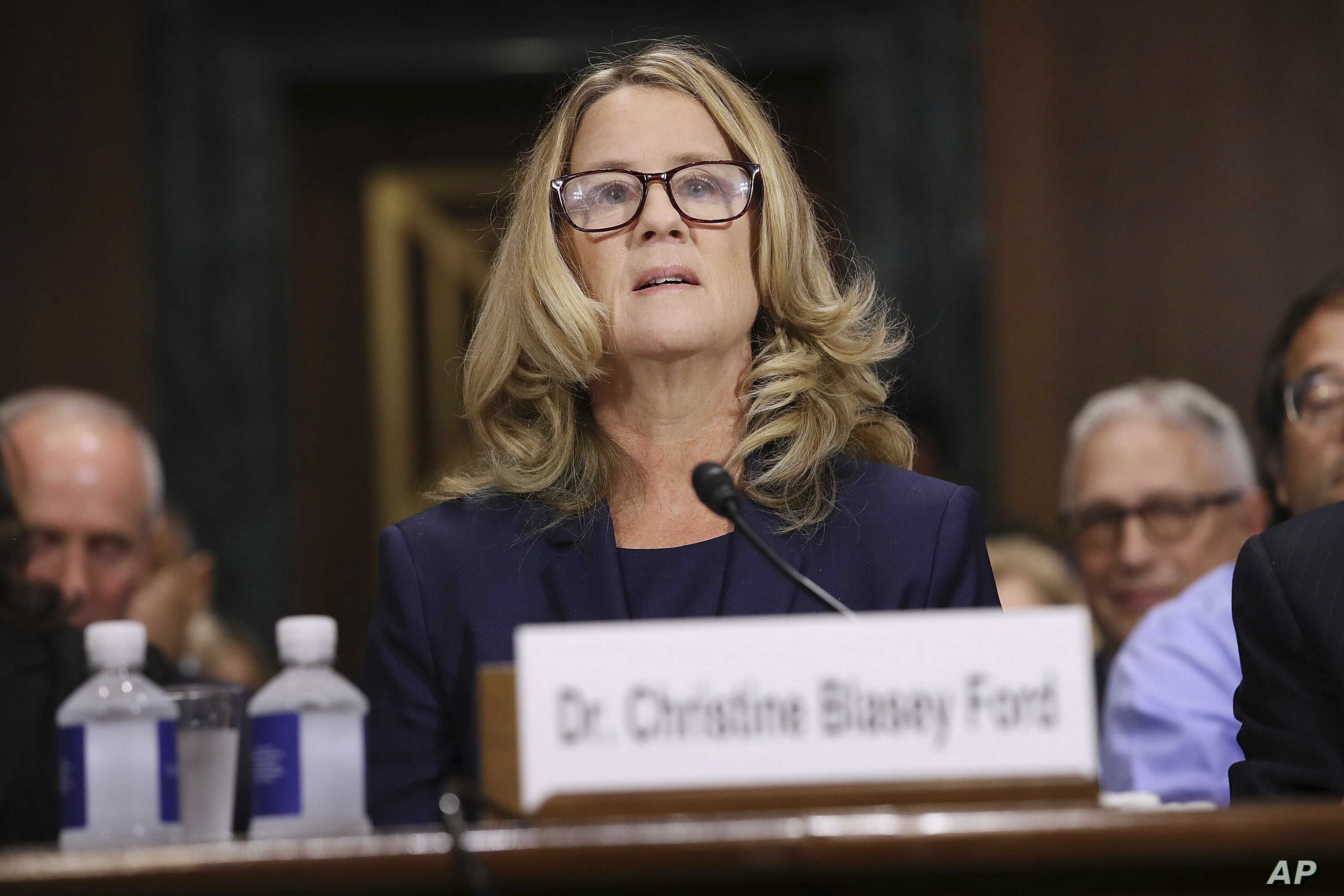 Christine Blasey Ford testifies before the Senate Judiciary Committee, Sept. 27, 2018 in Washington.
