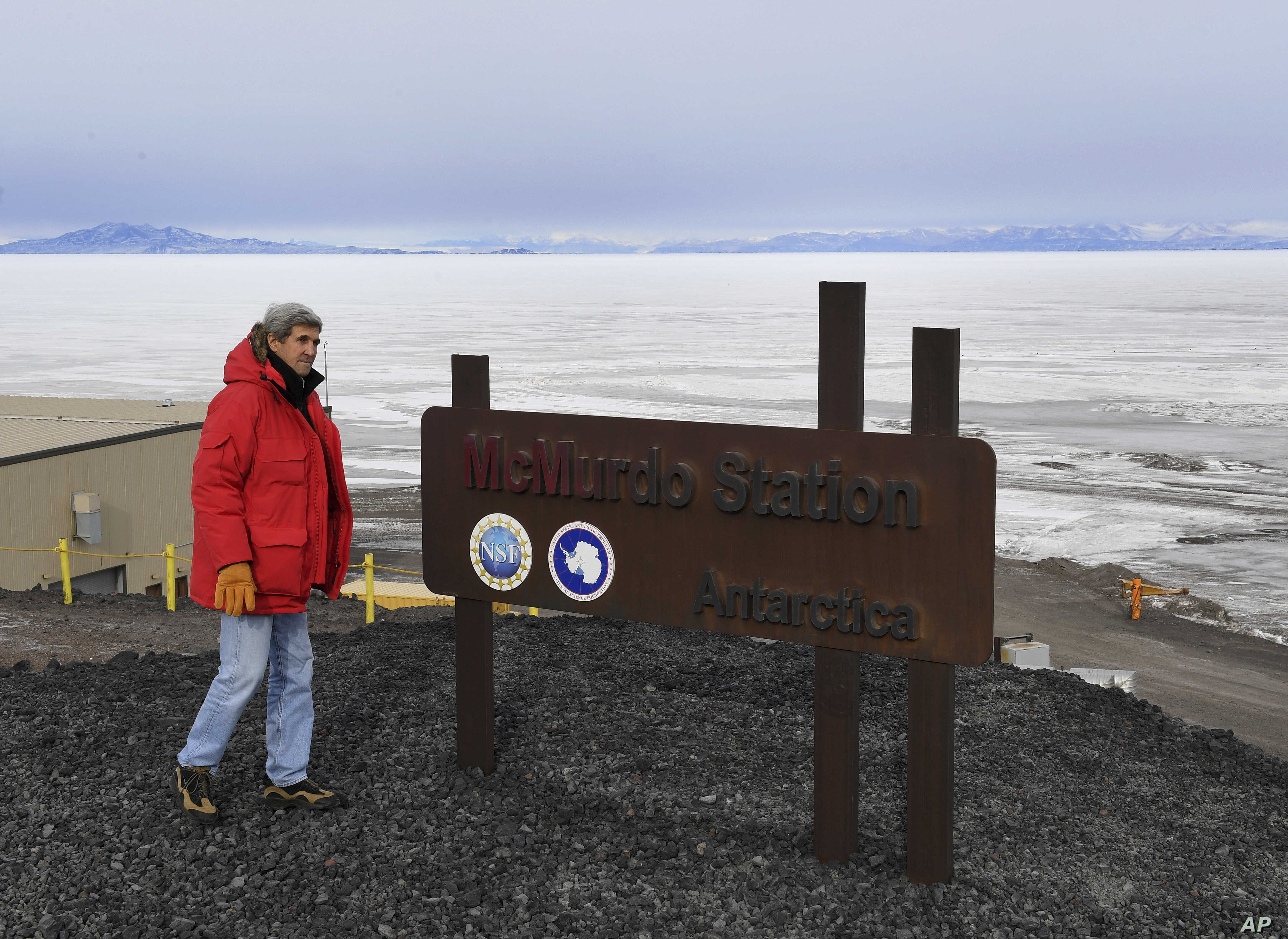 On Nov. 12, 2016, U.S. Secretary of State John Kerry looks out at a frozen section of the Ross Sea beside the McMurdo Station in Antarctica.