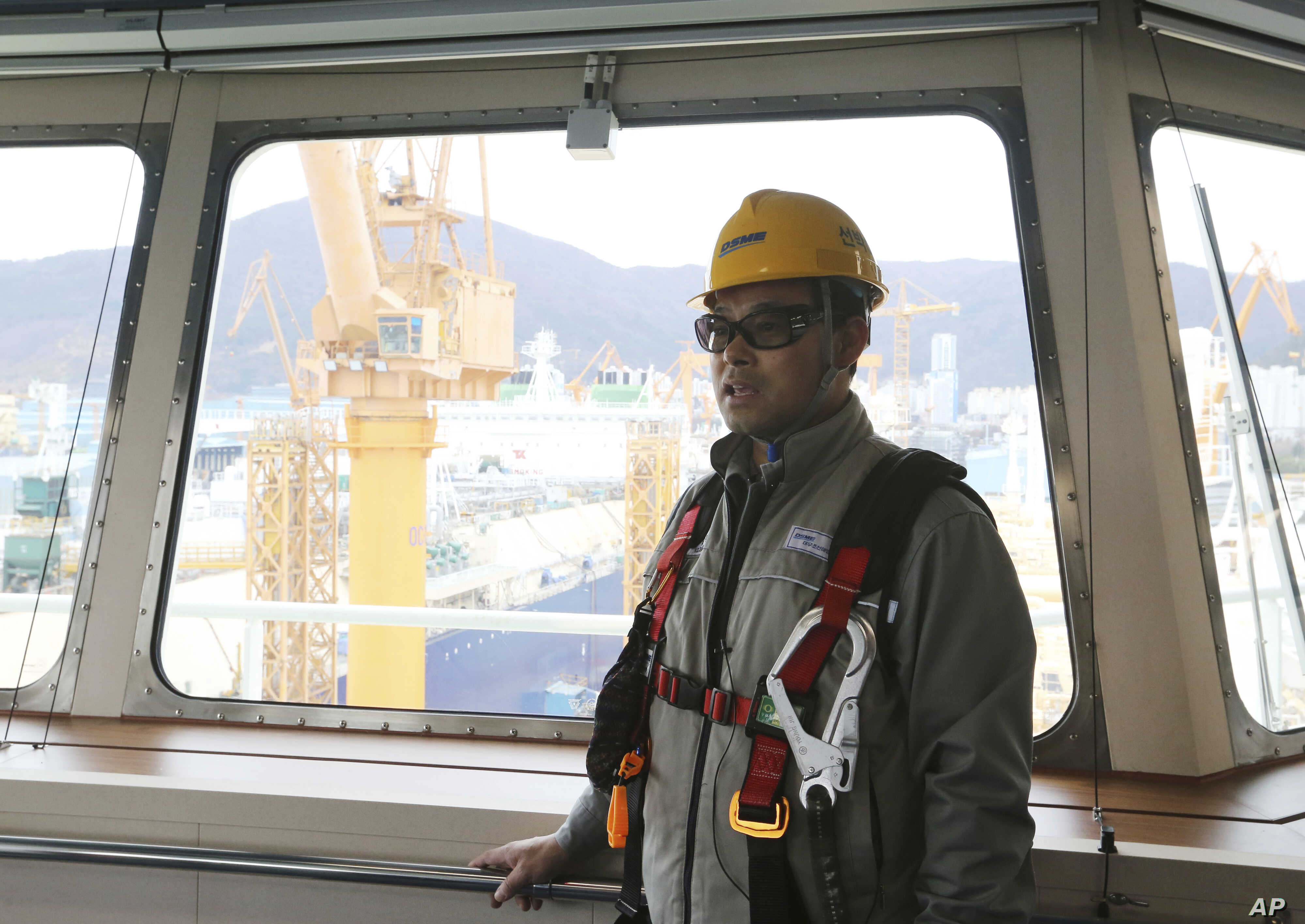 Song Ha-dong, a senior official from Daewoo Shipbuilding and Marine Engineering, speaks during an interview on the building of a large-sized liquefied natural gas (LNG) carrier at the Daewoo facility in Geoje Island, South Korea, Dec. 7, 2018.