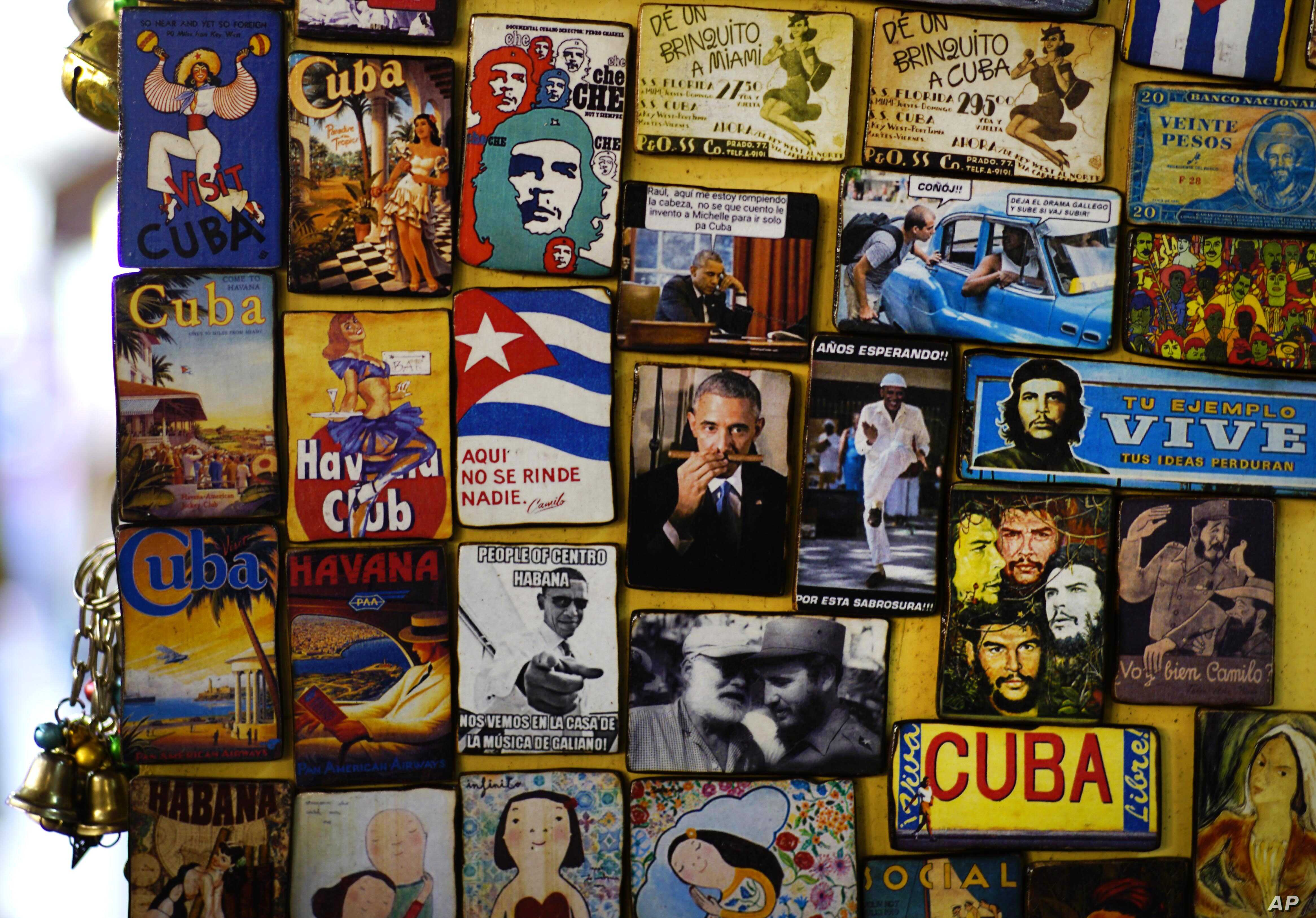 Refrigerator magnets are displayed for sale in a tourist shop, several showing images of U.S. President Barack Obama, at a market in Havana, Cuba, March 14, 2016. Obama will travel to Cuba on March 20.