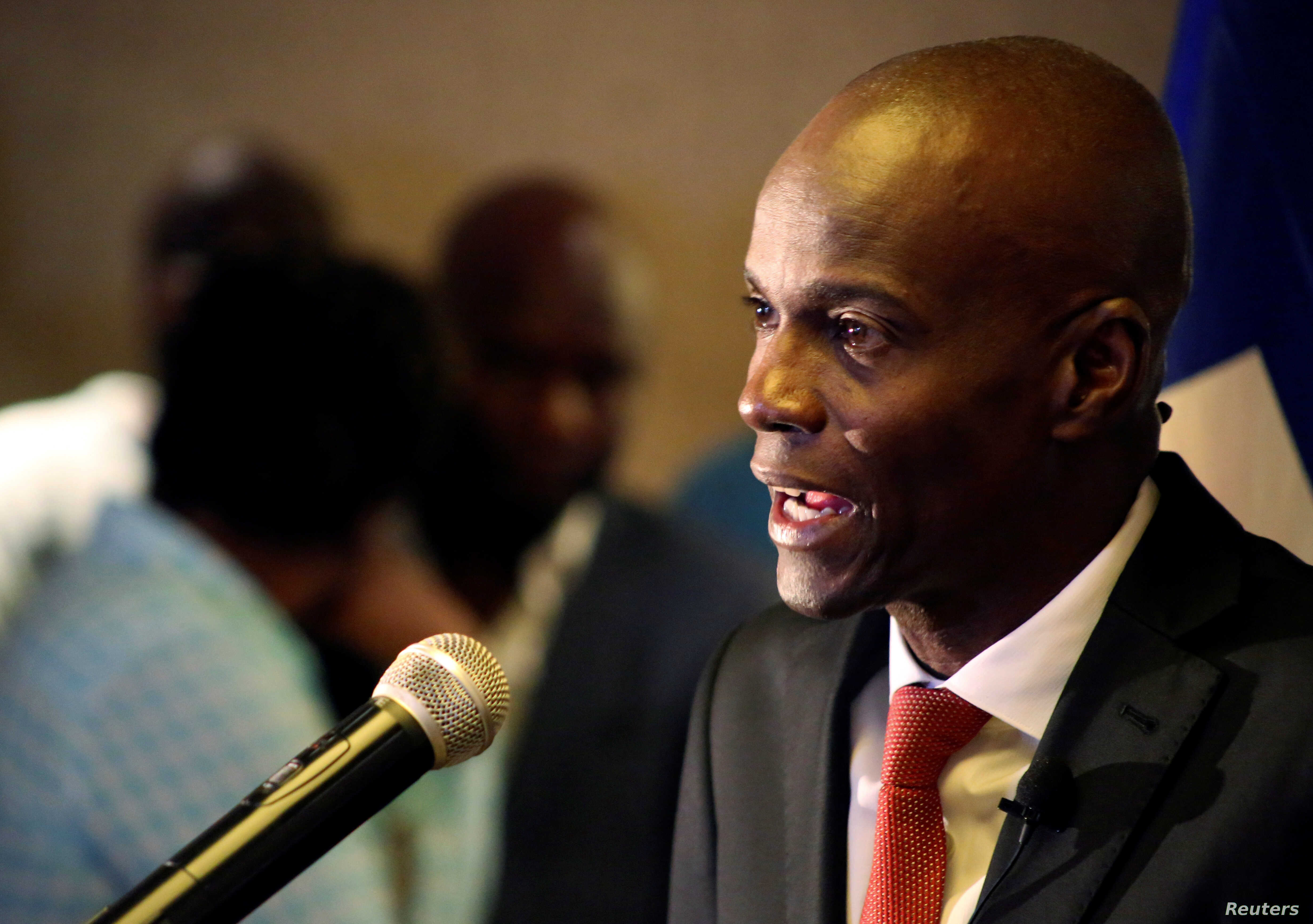 Jovenal Moise addresses the media after winning 55.67 percent of the vote in the November 20 presidential election, according to the electoral council, in Port-au-Prince, Haiti, Nov. 28, 2016.