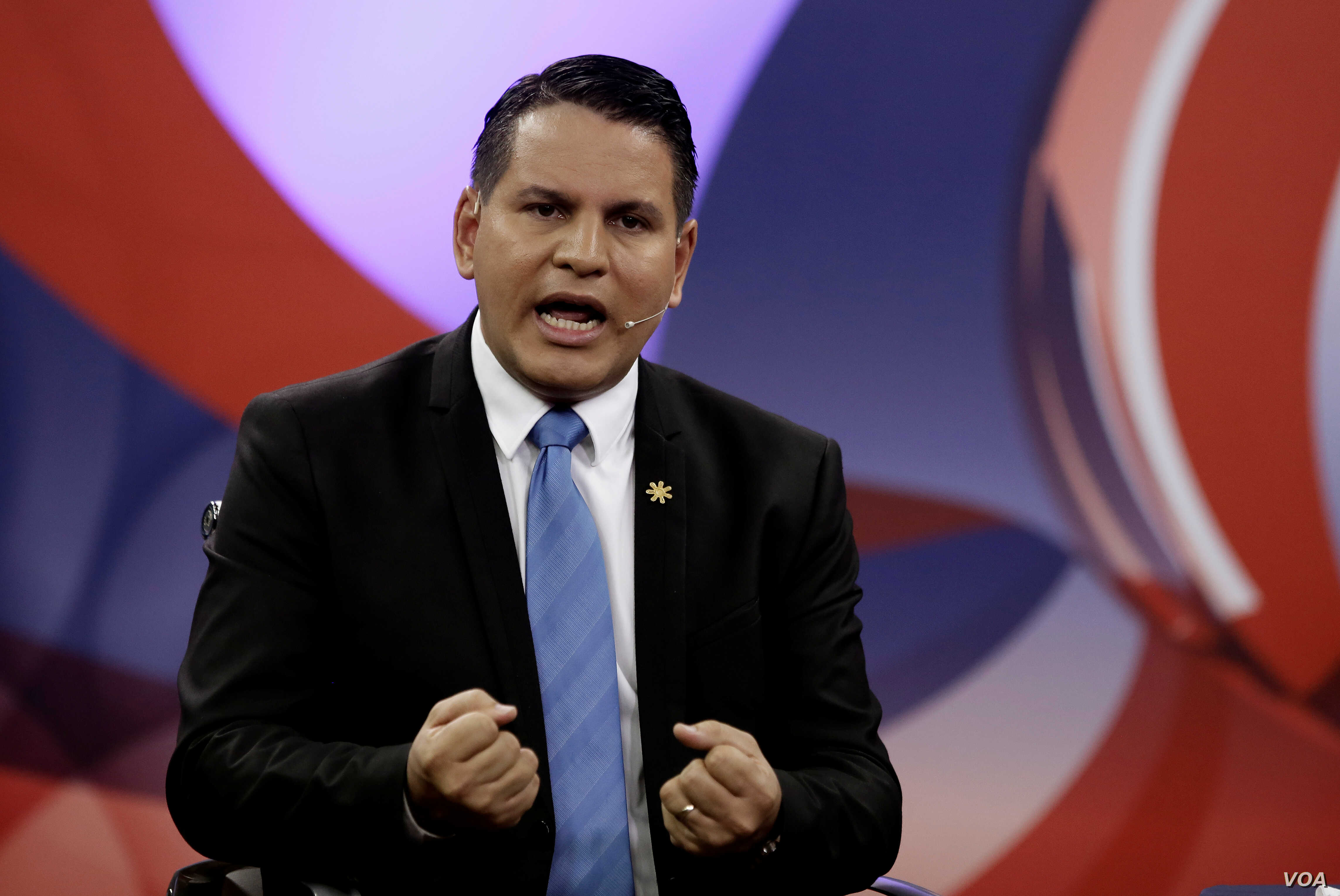 Fabricio Alvarado, presidential candidate of the National Restoration party, takes part in a live televised debate before a second-round presidential election runoff at Supreme Election Tribunal in San Jose, Costa Rica, March 25, 2018.