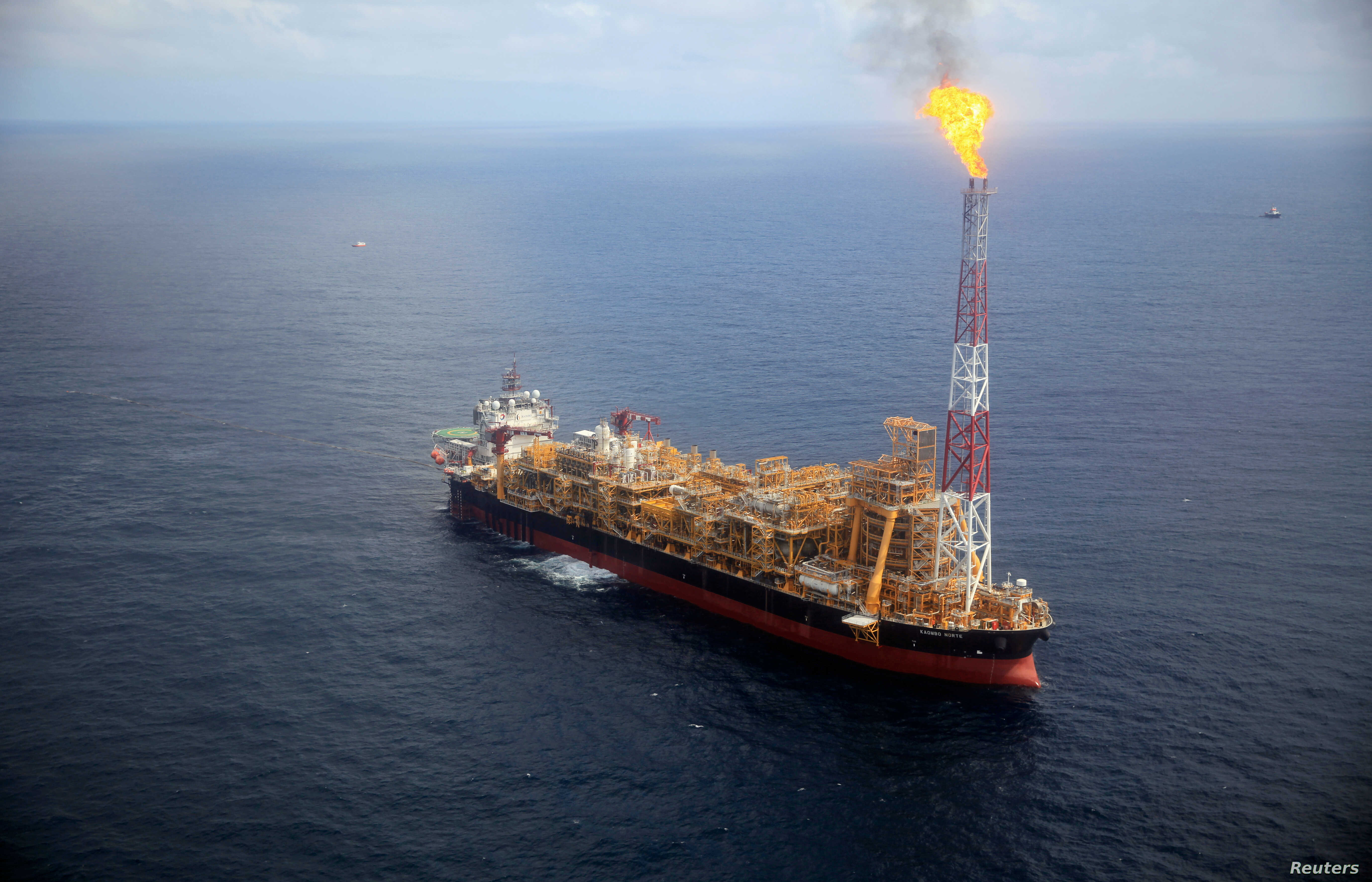 Kaombo Norte floating oil platform is seen from a helicopter off the coast of Angola, Nov. 8, 2018.