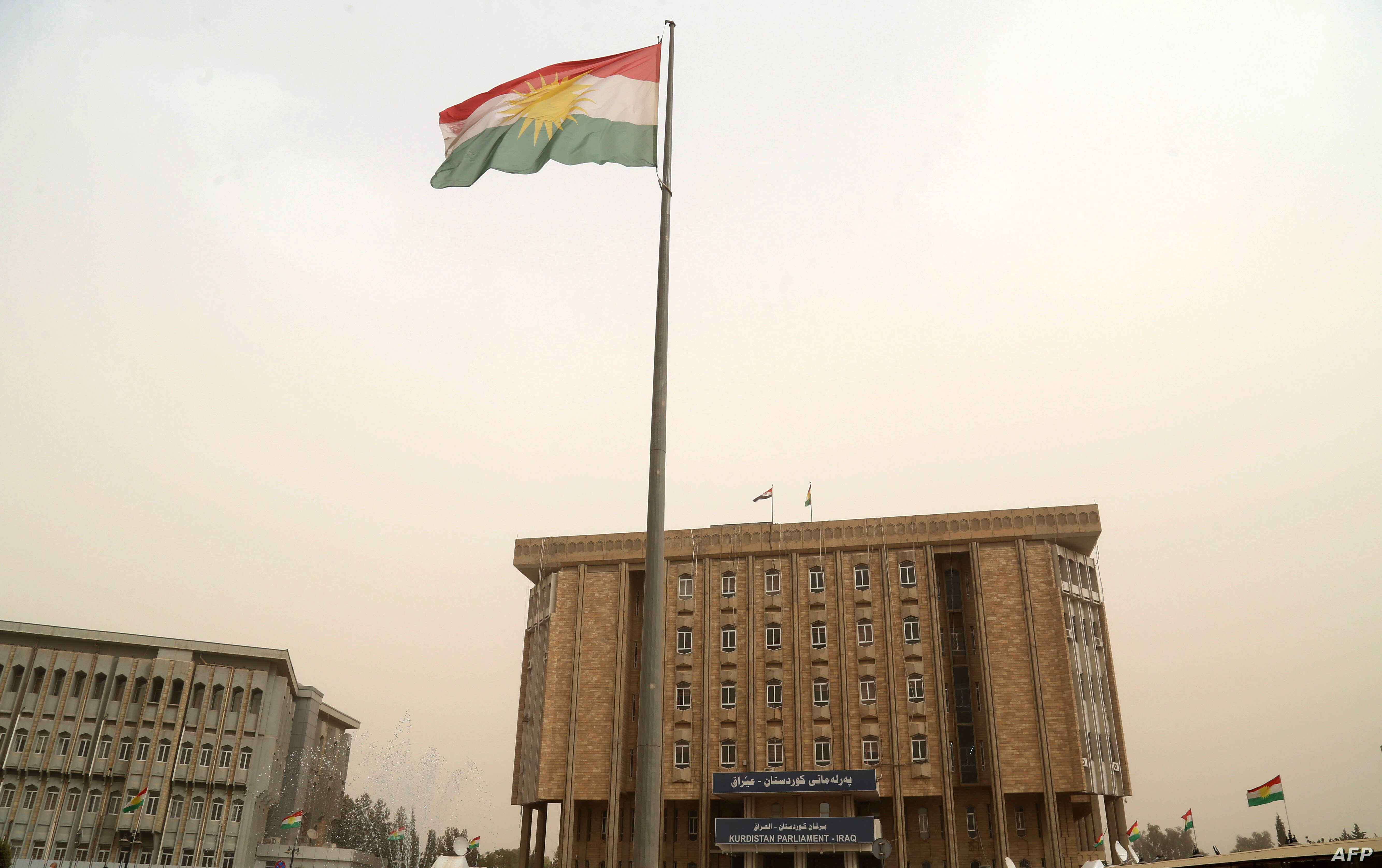 The parliament building of Iraq's Kurdistan region is seen in Irbil, northern Iraq, Oct. 29, 2017. Angry Kurds stormed the building Sunday after Iraqi Kurdish leader Masoud Barzani announced he was stepping down as president of the self-ruled region....