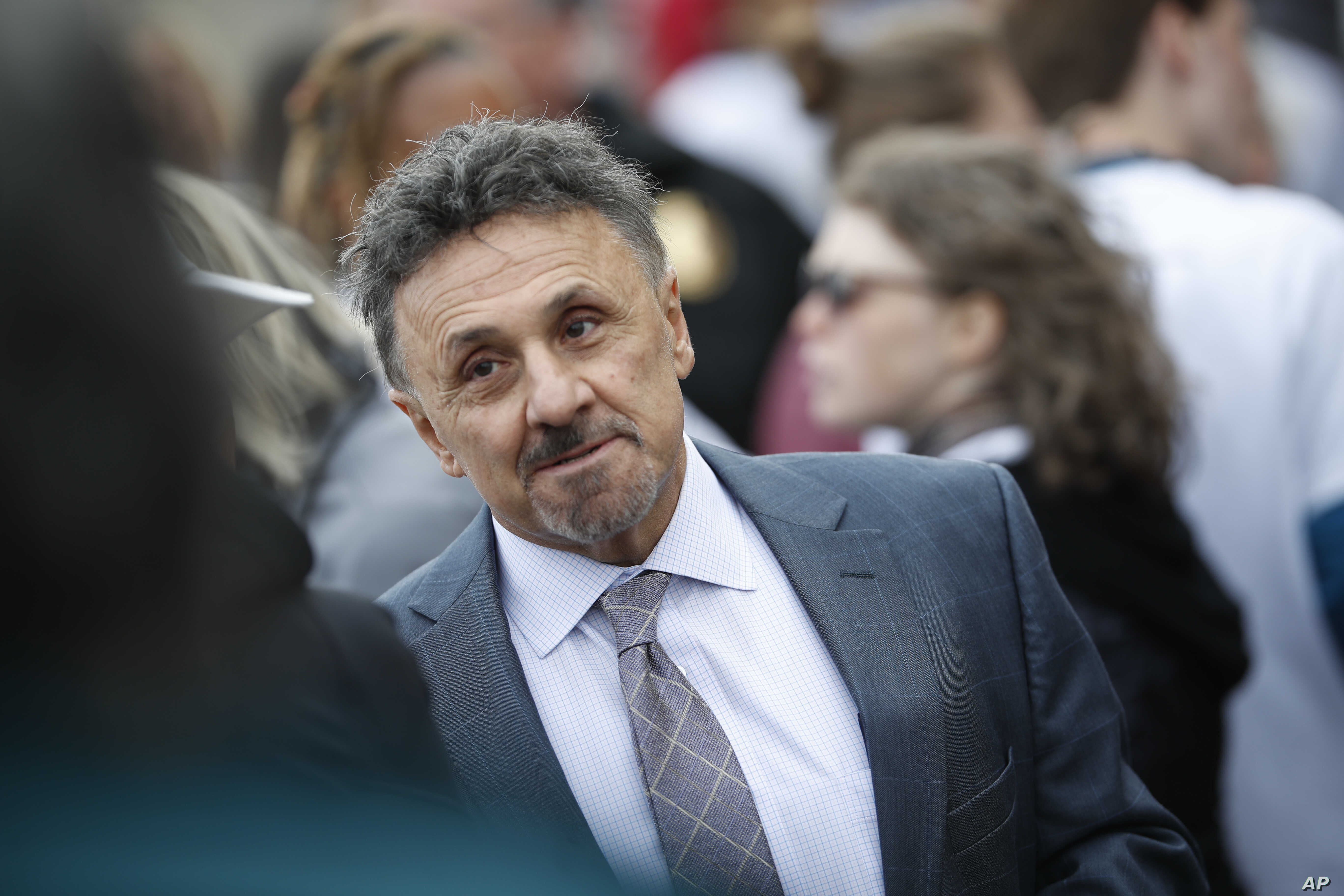 Frank DeAngelis, who was the principal of Columbine High School during the shootings, arrives for the Vote For Our Lives movement to register voters, April 19, 2018, at Clement Park in Littleton, Colo.