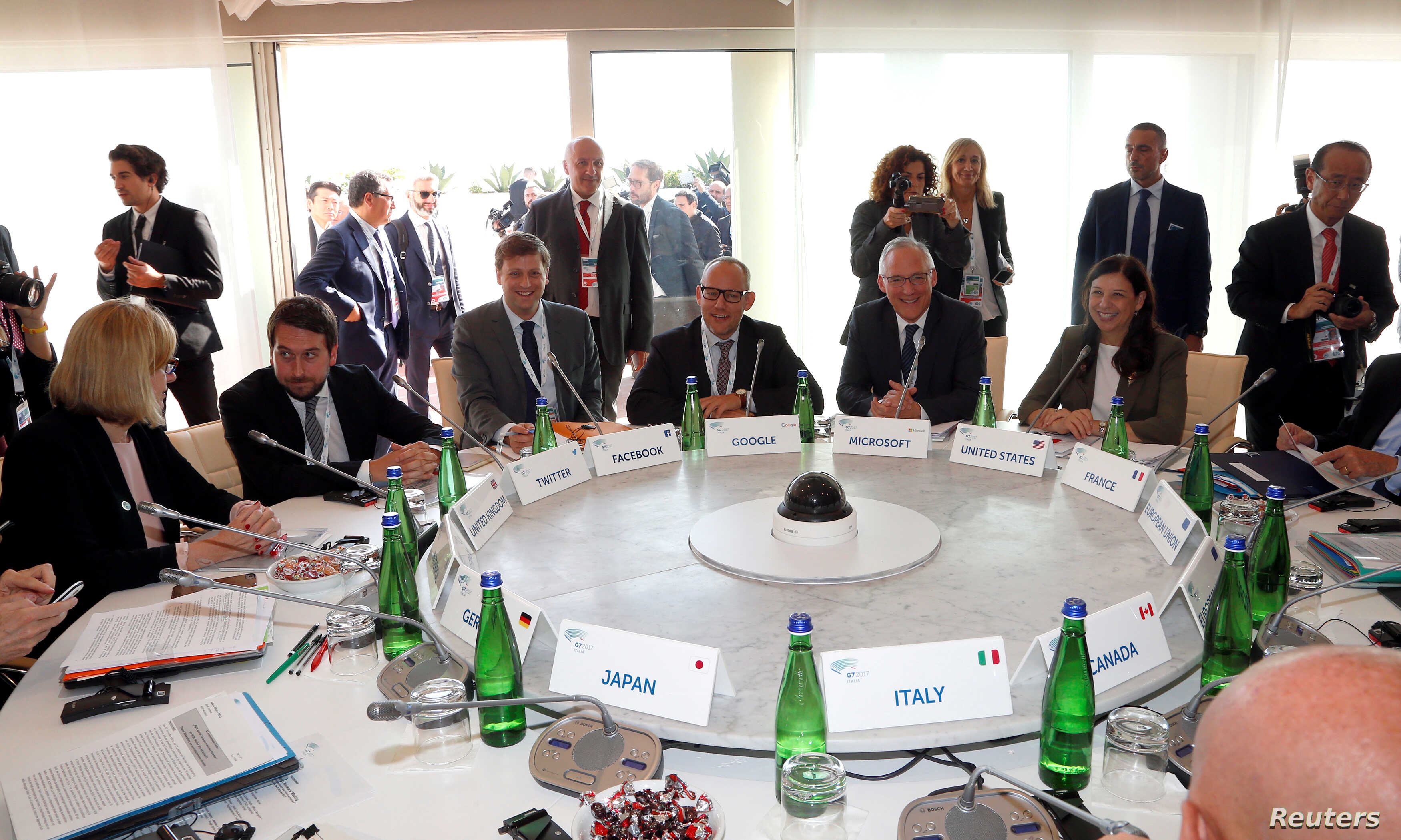Representatives from Google, Microsoft, Facebook and Twitter met with G-7 interior ministers to discuss efforts in combating extremism on the internet during a Group of Seven meeting in Italy, Oct. 20, 2017.