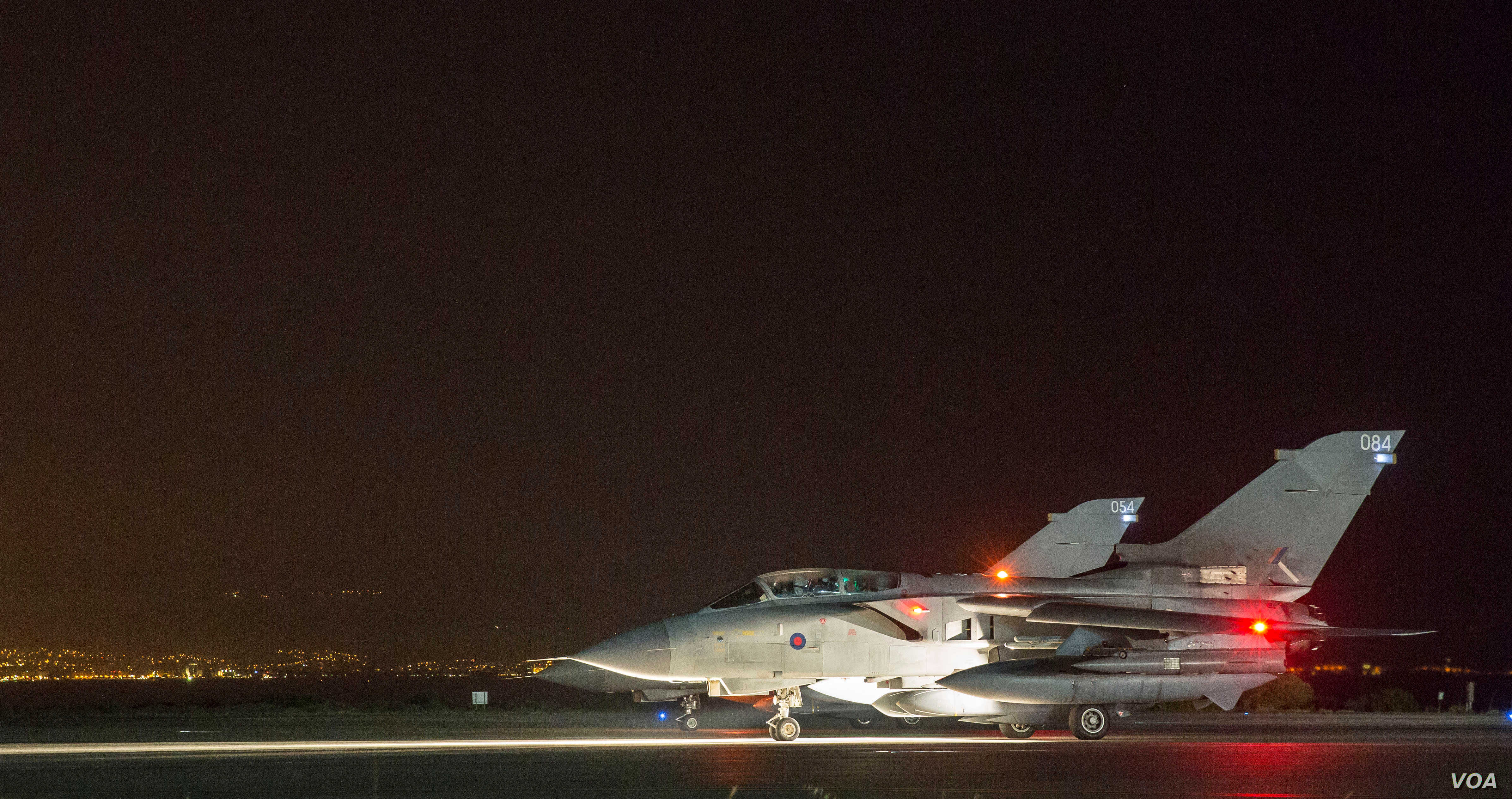 Two of four RAF Tornados prepare to take-off from Akrotiri, Cyprus, April 13, 2018.