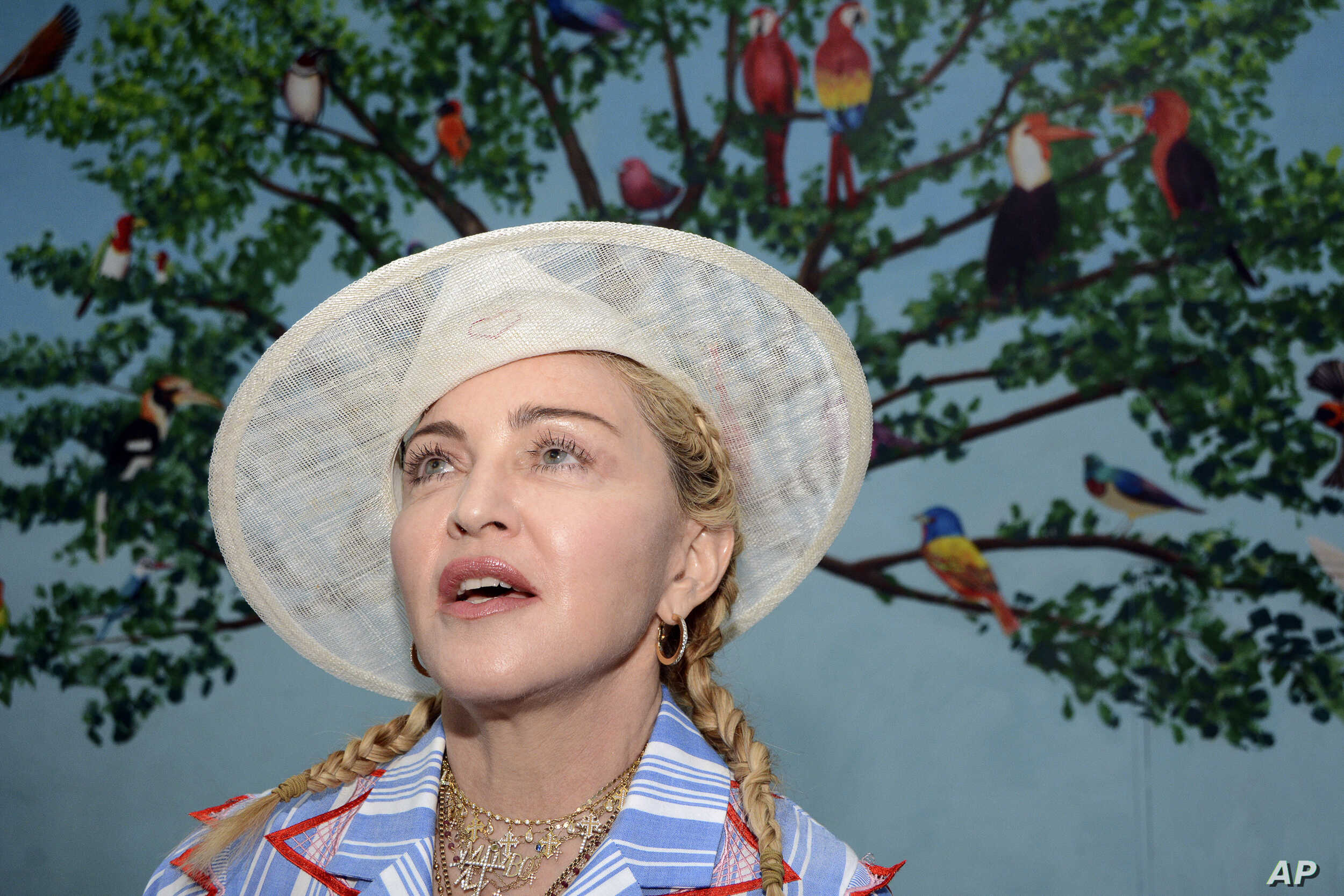U.S. singer Madonna speaks to the press at a news conference in Blantyre, Malawi, July 16, 2018.