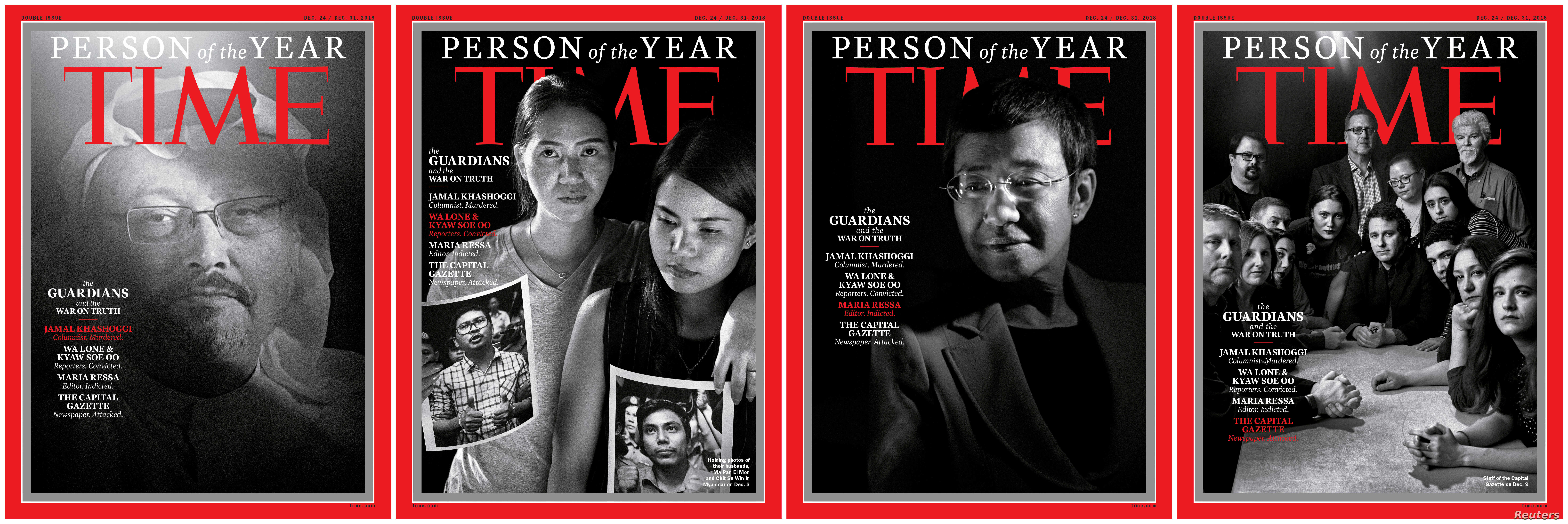 L-R: Saudi journalist Jamal Khashoggi, Ma Pan Ei Mon and Chit Su Win holding photos of their husbands Reuters journalists Wa Lone and Kyaw Soe Oo, Maria Ressa, a Filipina journalist, and the staff of the Capital Gazette newspaper, named TIME's Person...