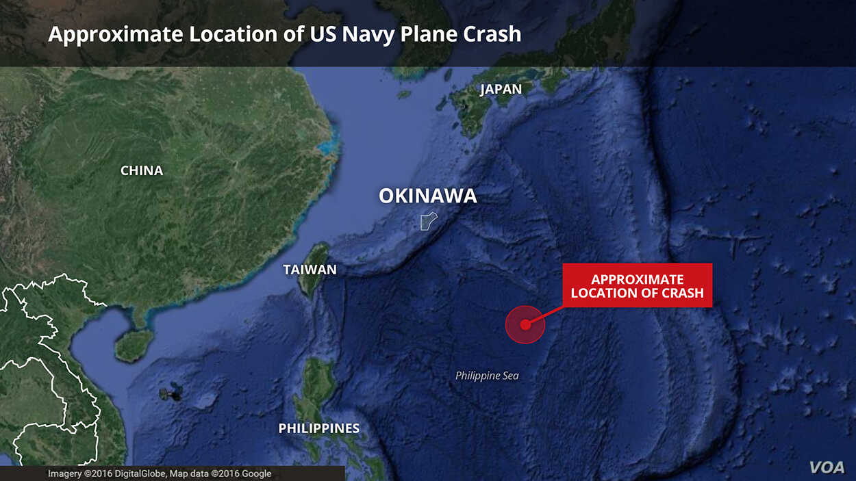 A twin-propeller C2-A Greyhound aircraft plummeted into the sea about 925 kilometers southeast of Okinawa, Japan, Nov. 22, 2017.