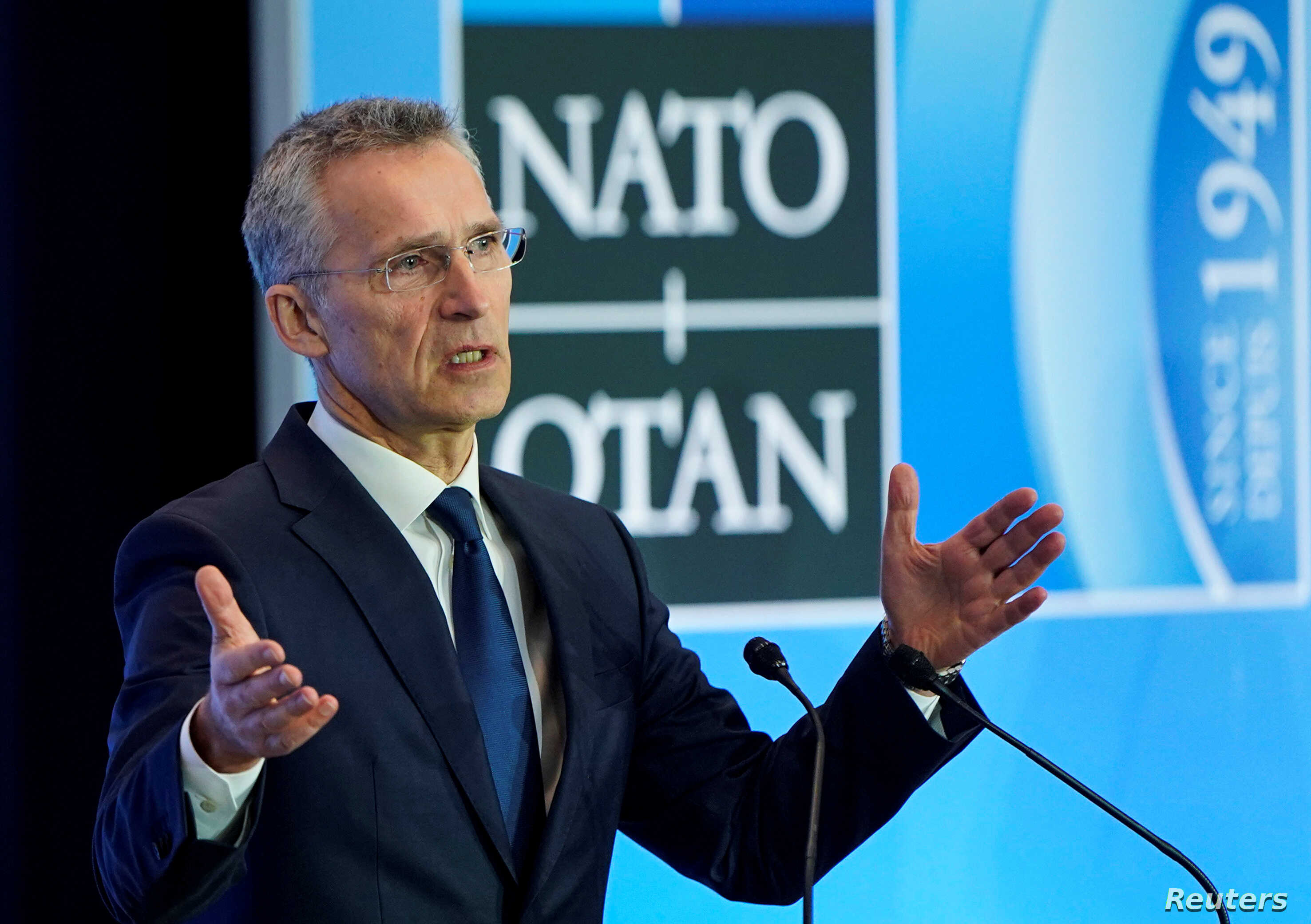 NATO Secretary General Jens Stoltenberg speaks to the media during the NATO Foreign Minister's Meeting at the State Department in Washington, April 4, 2019.