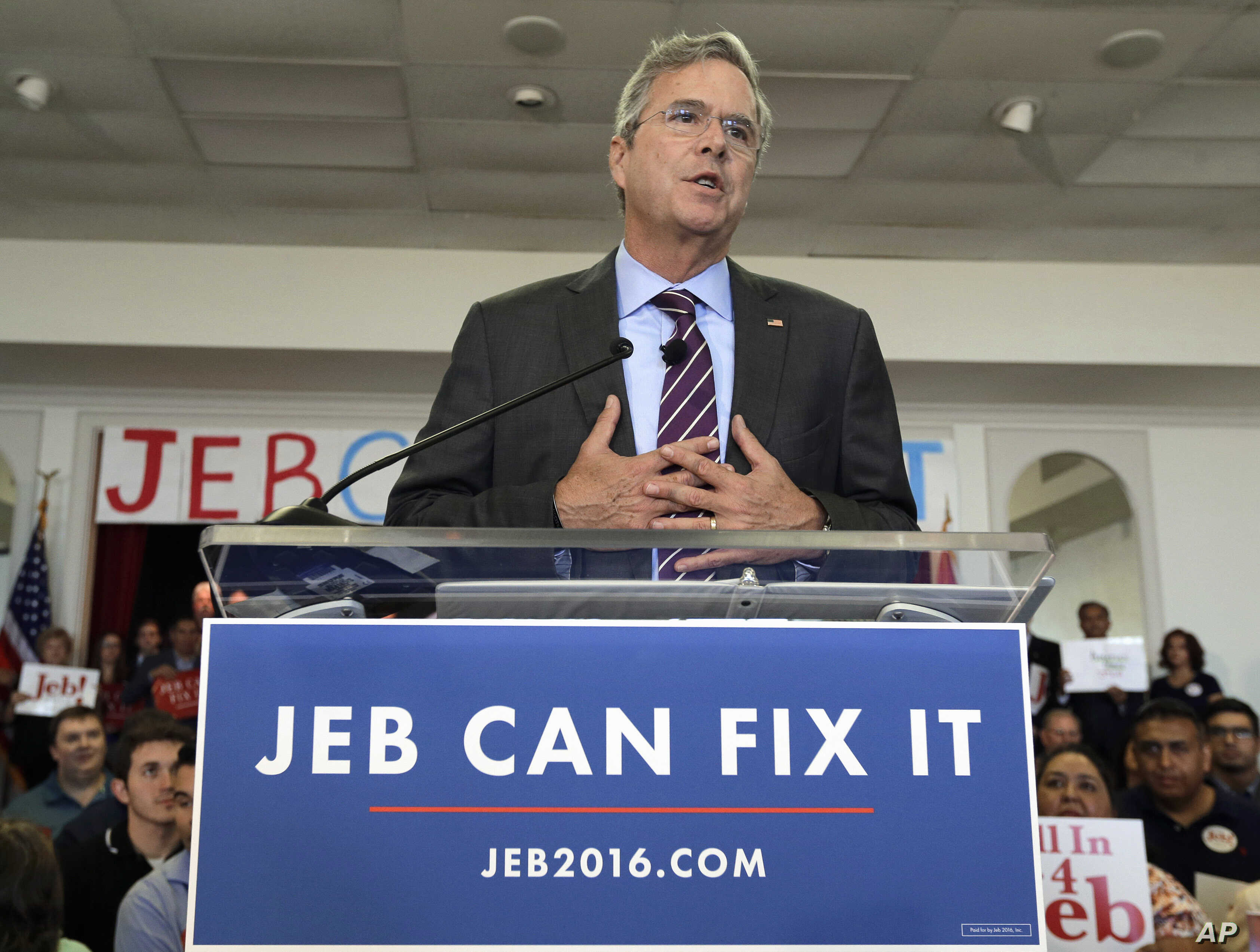 Republican presidential candidate, former Florida Gov. Jeb Bush, gestures as he speaks to supporters during a rally Nov. 2, 2015, in Tampa, Florida.