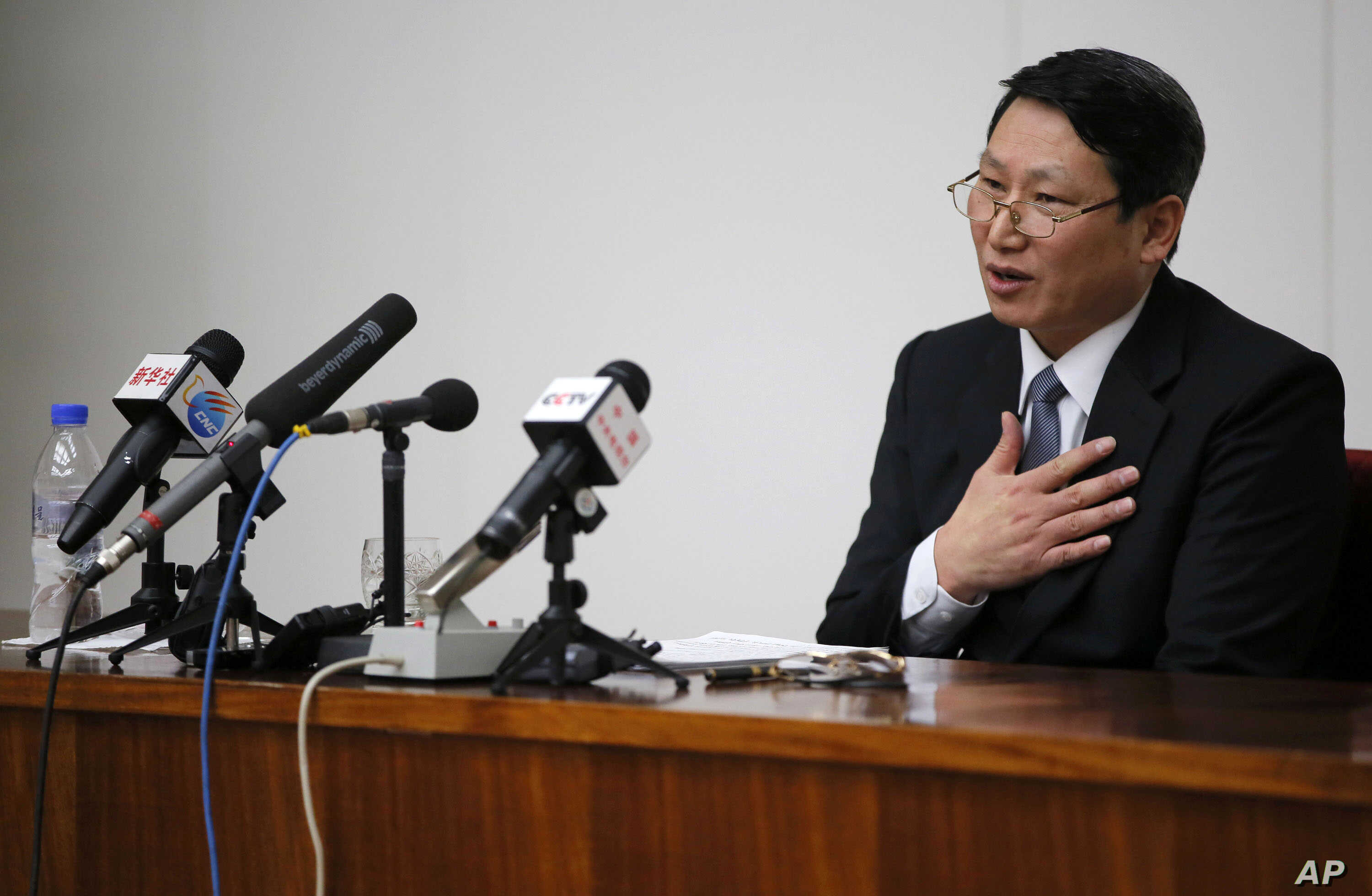 FILE - Kim Jung Wook, a South Korean Baptist missionary, speaks during a news conference in Pyongyang, North Korea.