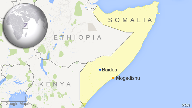 Map of Somalia showing Baidoa