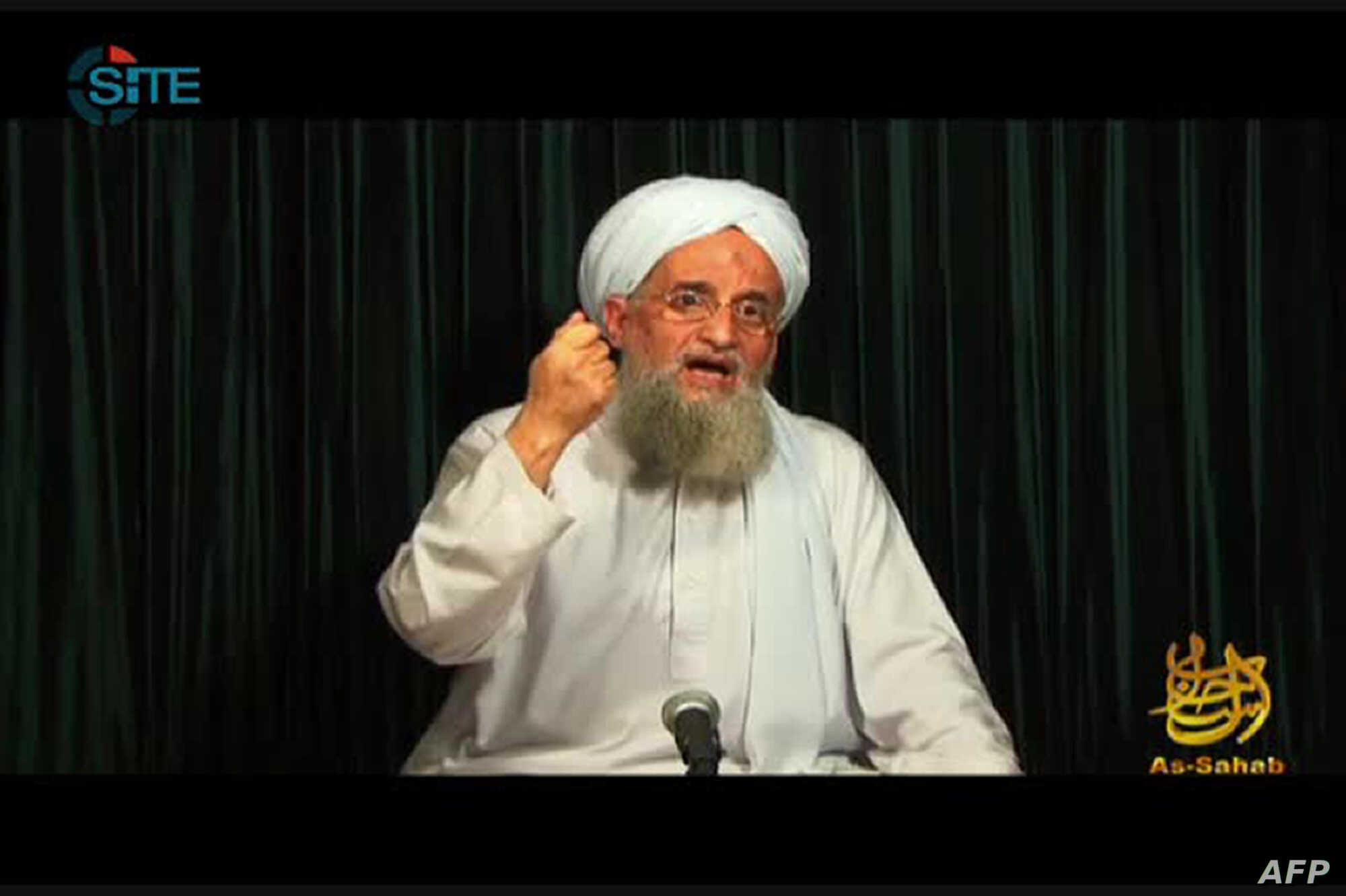 FILE - This still image from video obtained Oct. 26, 2012 courtesy of the Site Intelligence Group, shows al-Qaida leader Ayman al-Zawahiri speaking in a video, from an undisclosed location, released by al-Qaida's media arm, as-Sahab.