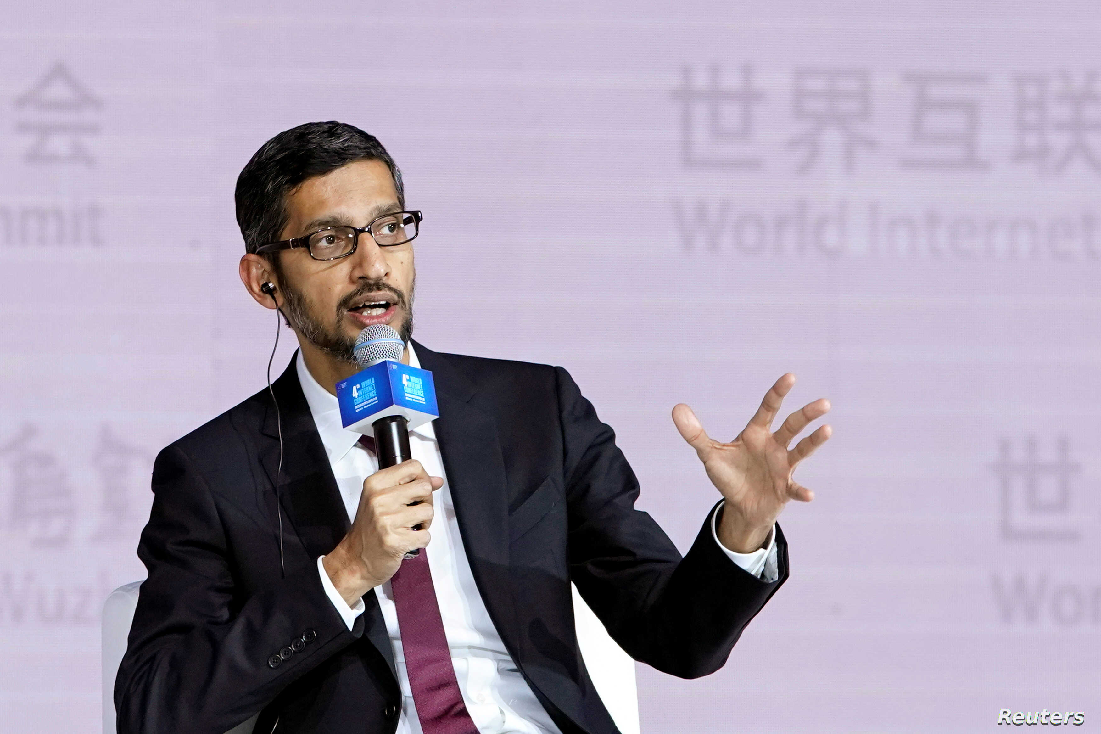 Google Inc. CEO Sundar Pichai speaks at a session of the fourth World Internet Conference in Wuzhen, China, Dec. 3, 2017.