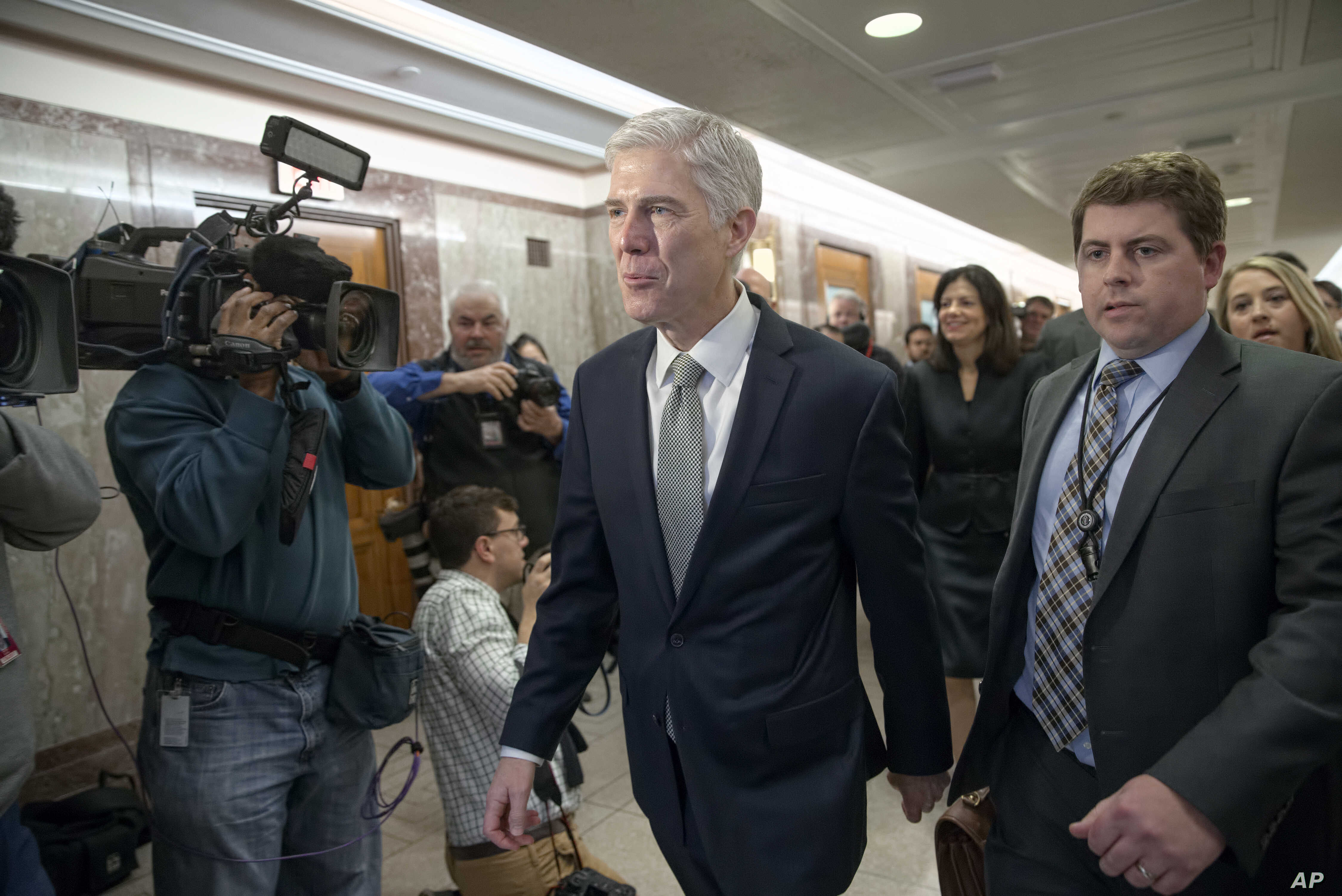 "Supreme Court nominee Neil Gorsuch arrives for a meeting with Sen. Susan Collins, R-Maine, on Capitol Hill in Washington, Feb. 9, 2017. Gorsuch has said he found President Donald Trump's attacks on the judiciary ""disheartening"" and ""demoralizing."""