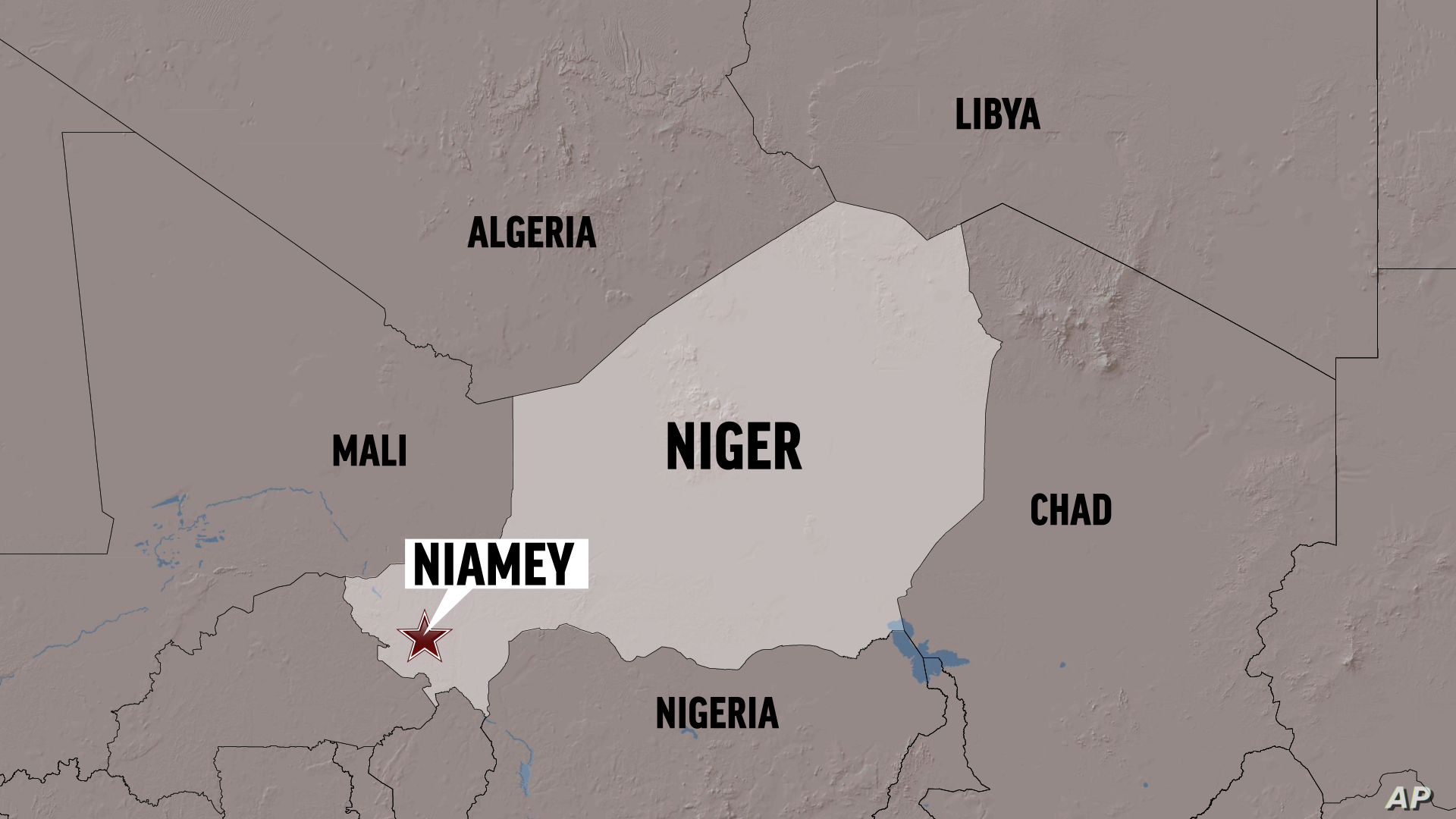 A map of Niger with the capital city, Niamey, highlighted.