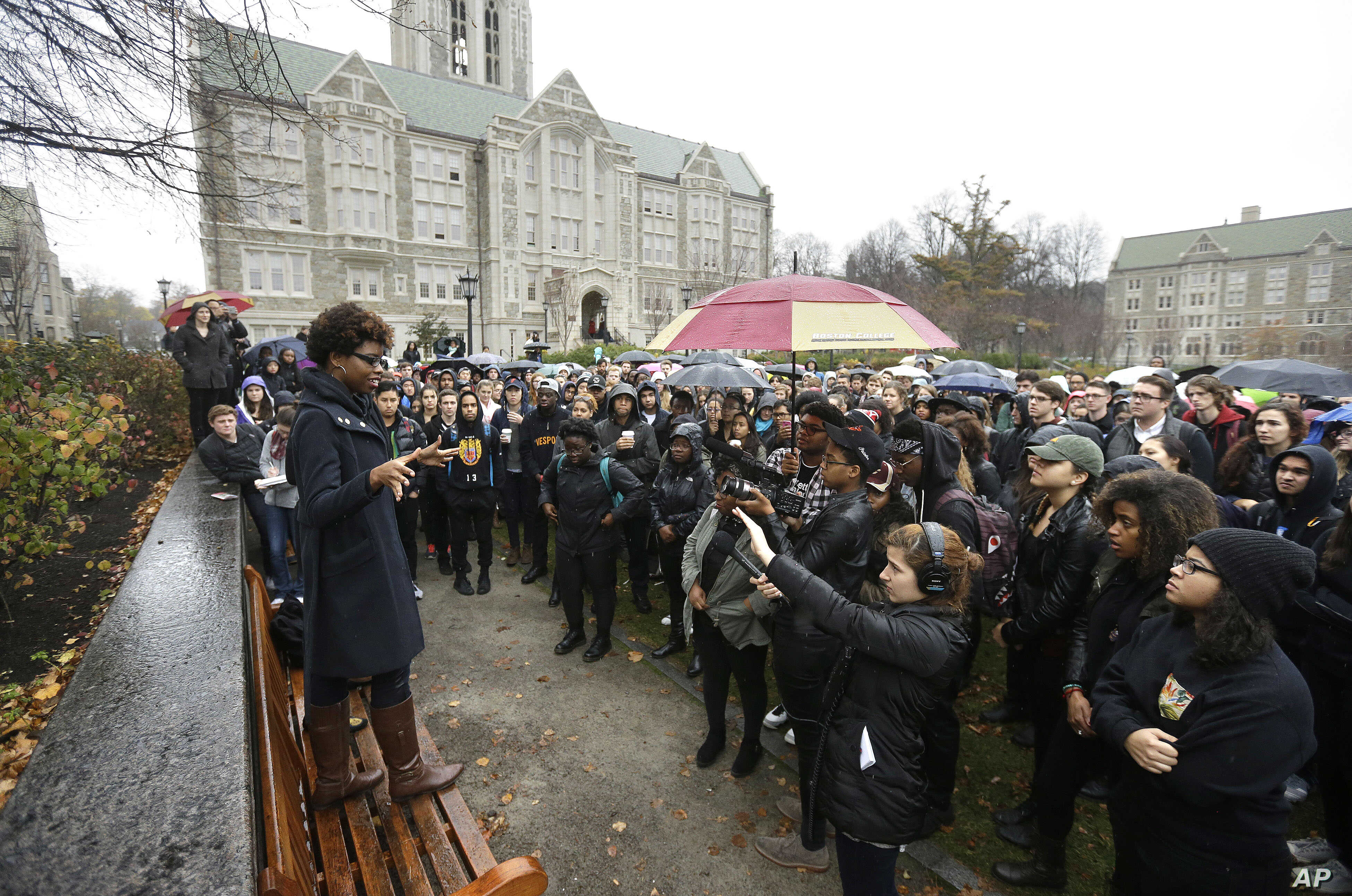 Students at Boston College listen to a speaker as they gather during a solidarity demonstration on the school's campus, in Newton, Mass., Nov. 12, 2015.