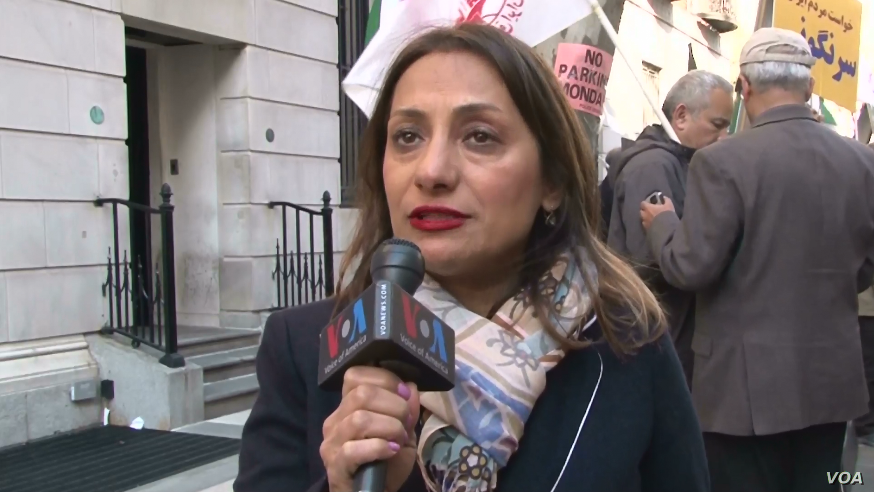 Shirin Nariman, organizer of the protest against Iranian Foreign Minister Mohammad Javad Zarif, speaks to VOA Persian in New York, April 23, 2018.