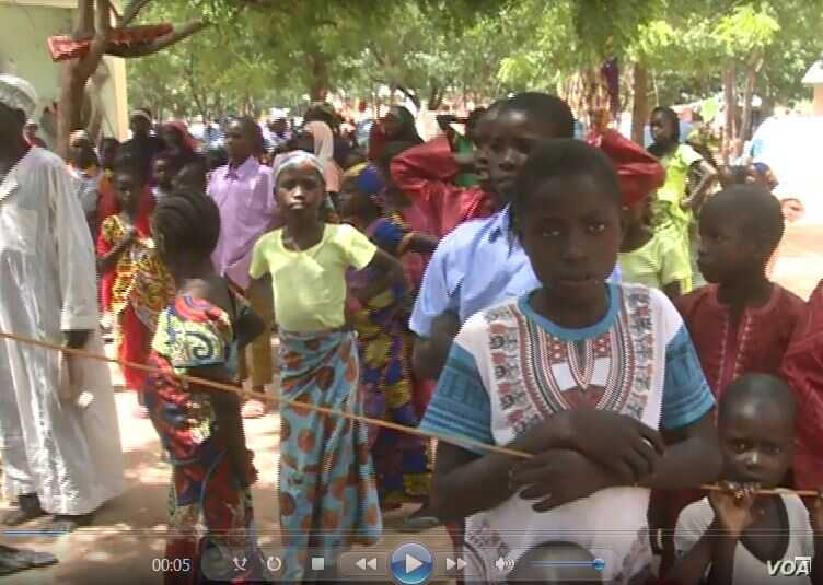 Some of the many former Boko Haram hostages who want to return home, in Mozogo, Cameroon, Oct. 21, 2017. Local communities are refusing to allow the hostages to return, fearing being infiltrated again by terrorists.