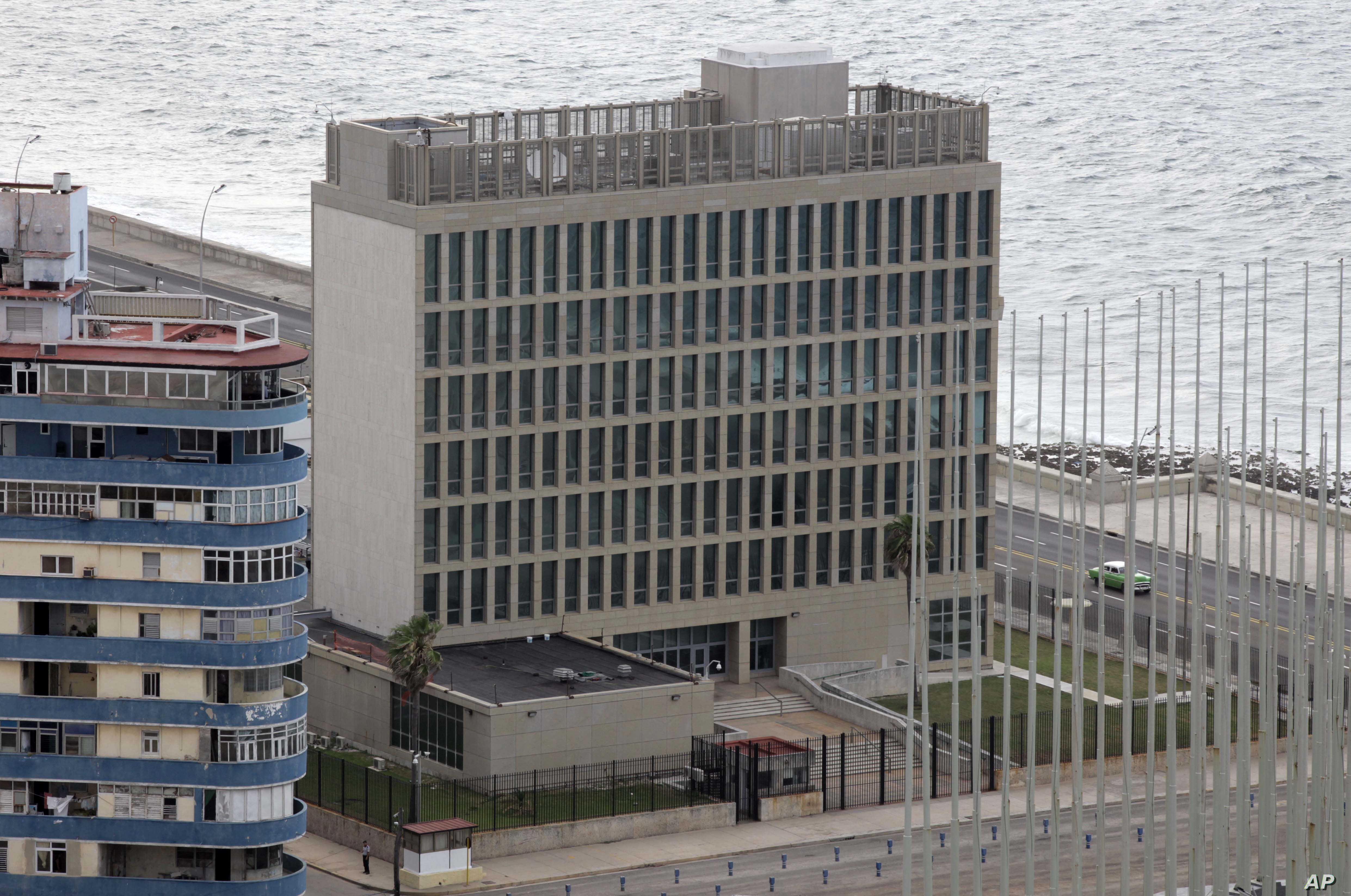 FILE - The United States Interests Section diplomatic mission is seen in Havana, Cuba.