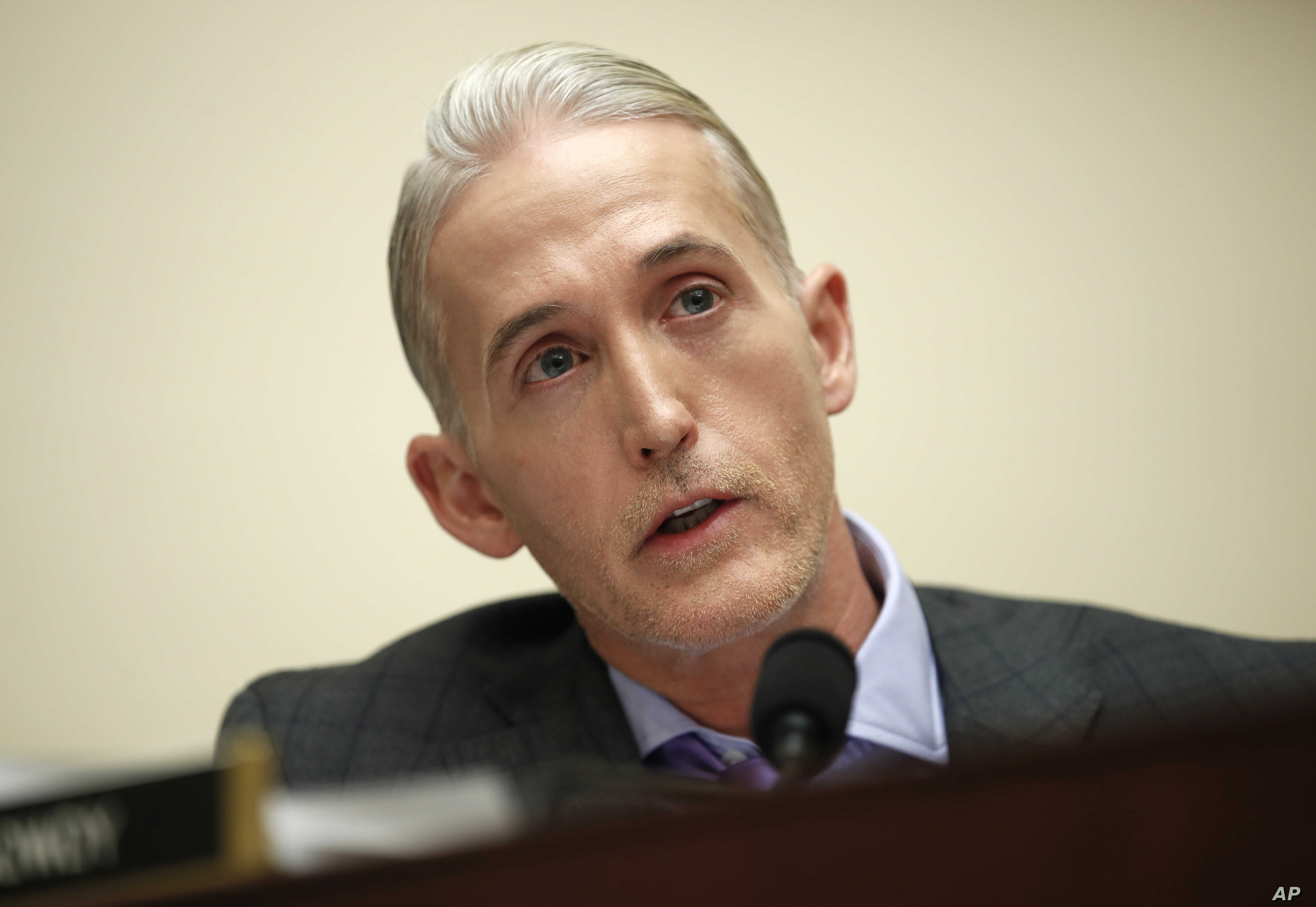 FILE - House Judiciary Committee member Rep. Trey Gowdy, R-S.C., speaks during a House Judiciary hearing on Capitol Hill in Washington, Dec. 7, 2017.