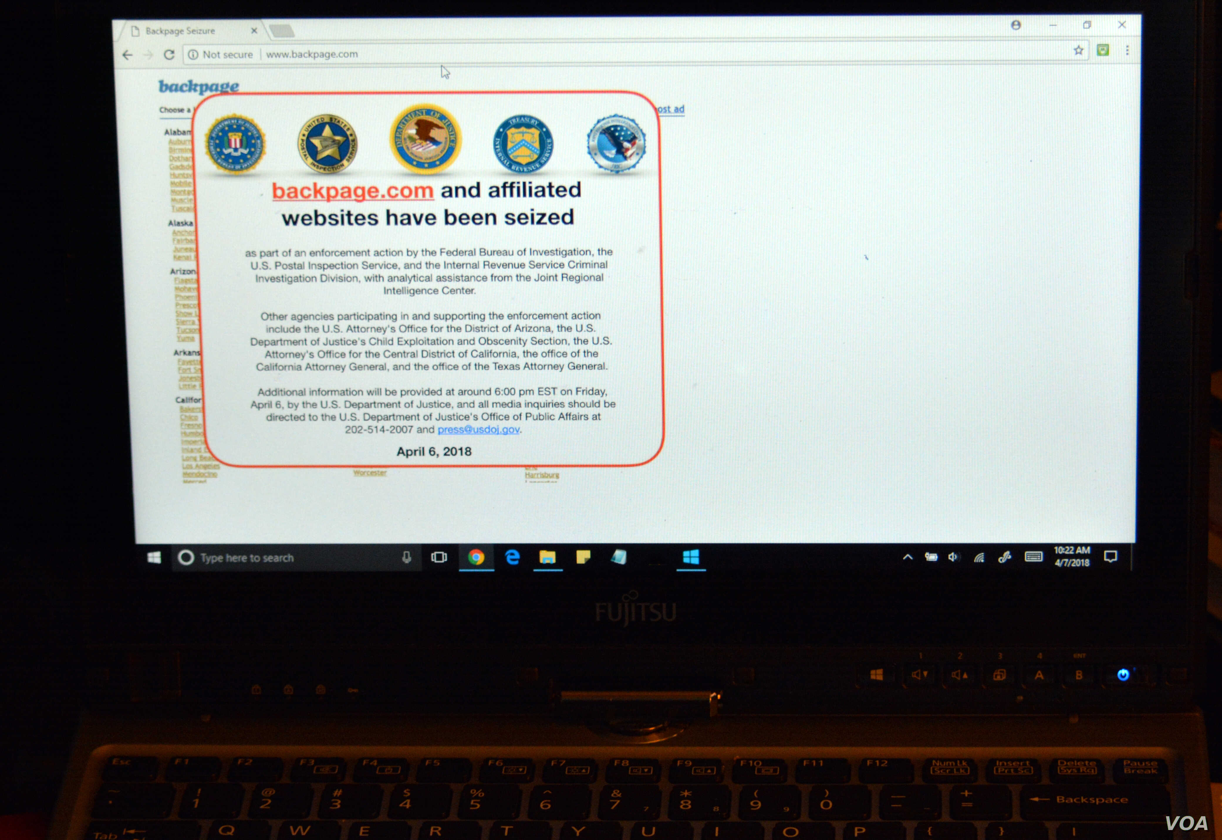 FBI Seizes Online Classified Website Backpage com | Voice of