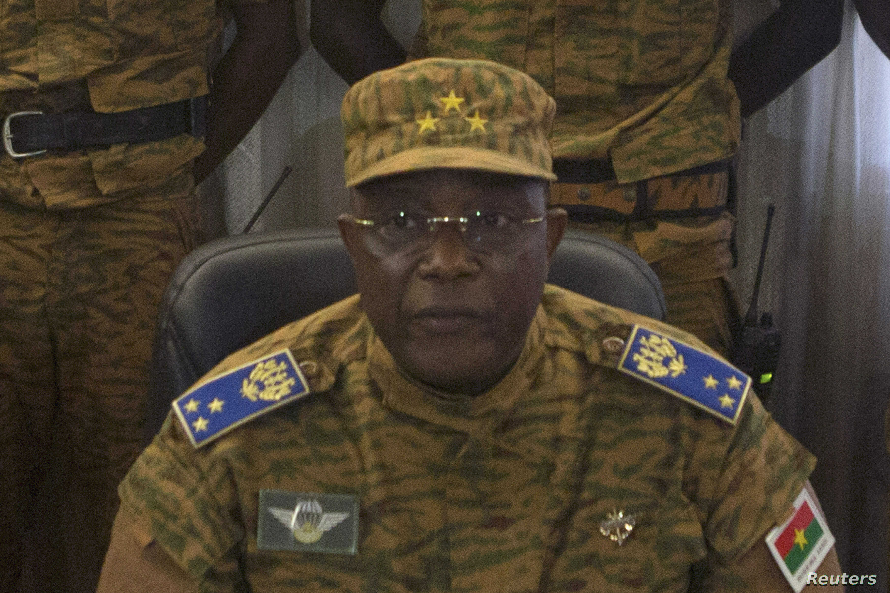 Burkina Faso's military chief General Honore Traore speaks at a news conference announcing his takeover of power, at army headquarters in Ouagadougou, capital of Burkina Faso, Oct. 31, 2014.