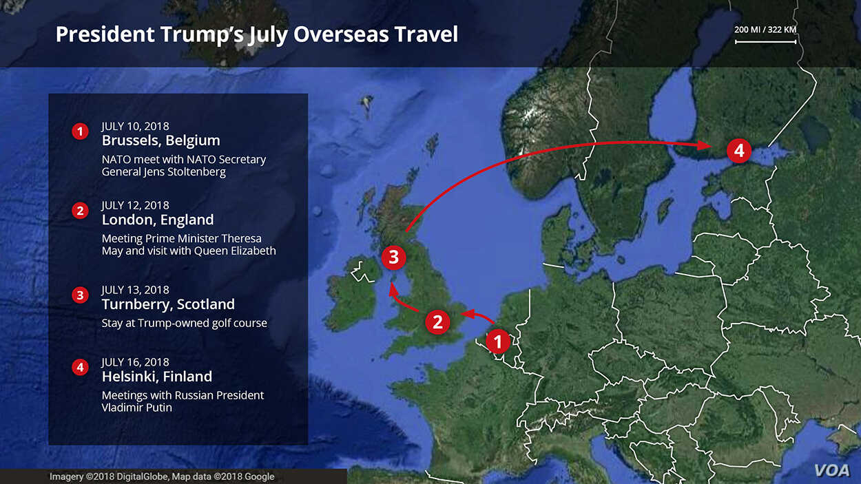 President Donald Trump's travels this week include Brussels, Belgium, England, Scotland and Helsinki, Finland.