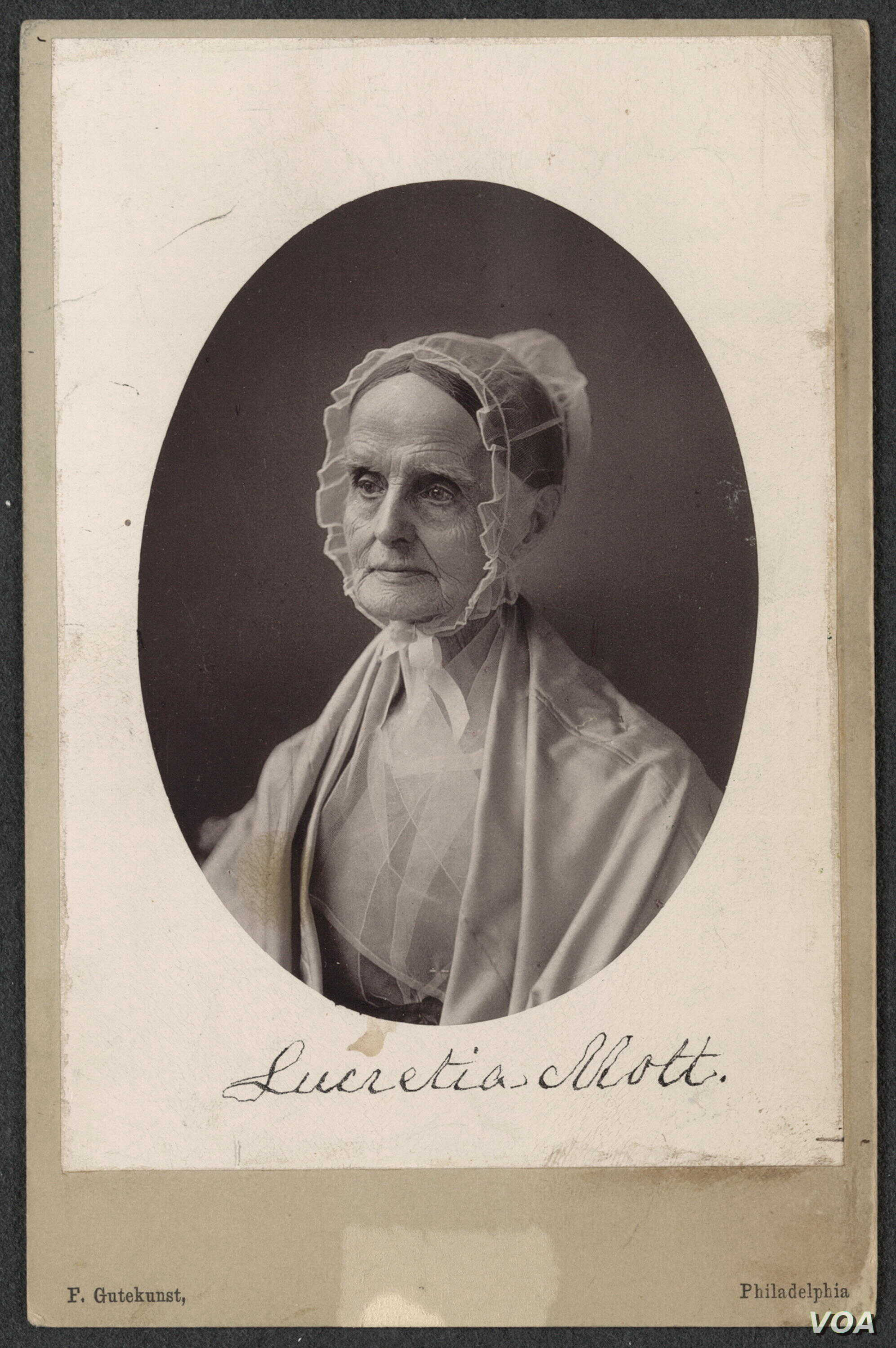 Lucretia Mott was a women's rights activist, abolitionist, religious reformer and a leading social reformer of her time. This photo is from the Library of Congress collection, Women of Protest.