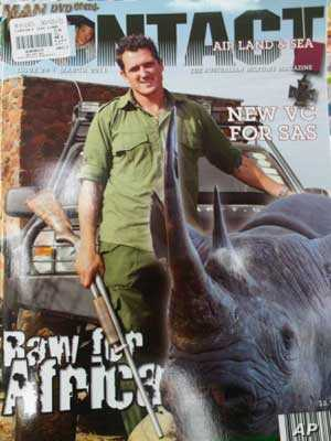 Australian Special Forces soldier, Damien Mander, as he appears on the cover of an Australian military magazine.